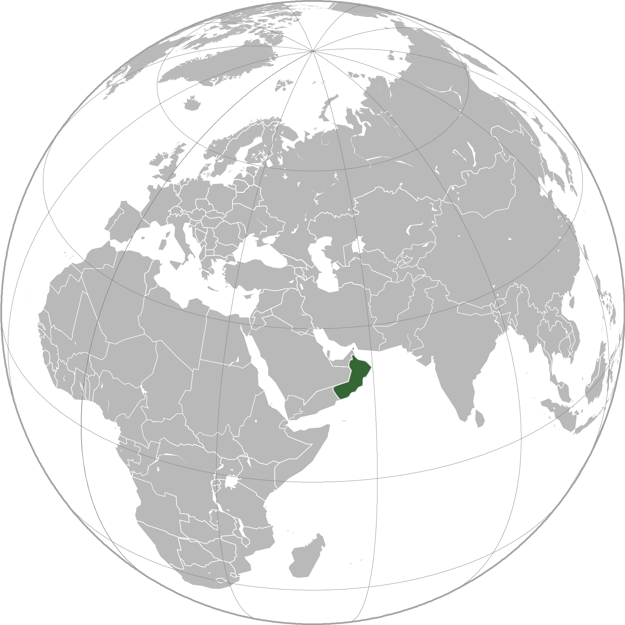 Location of the Oman in the World Map