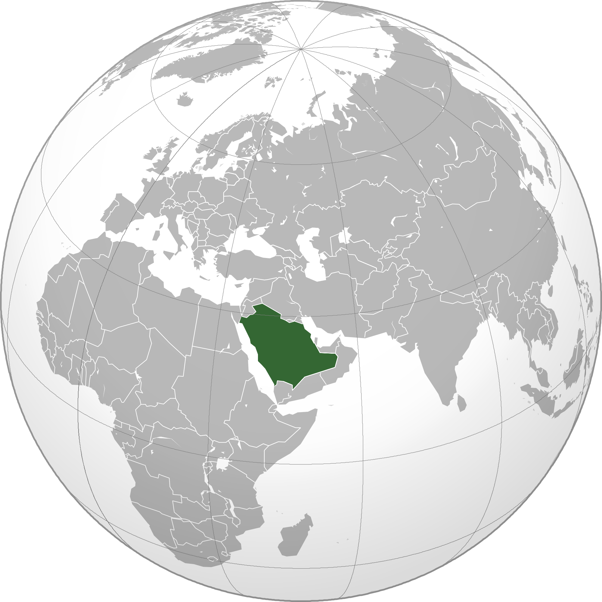 Location of the Saudi Arabia in the World Map
