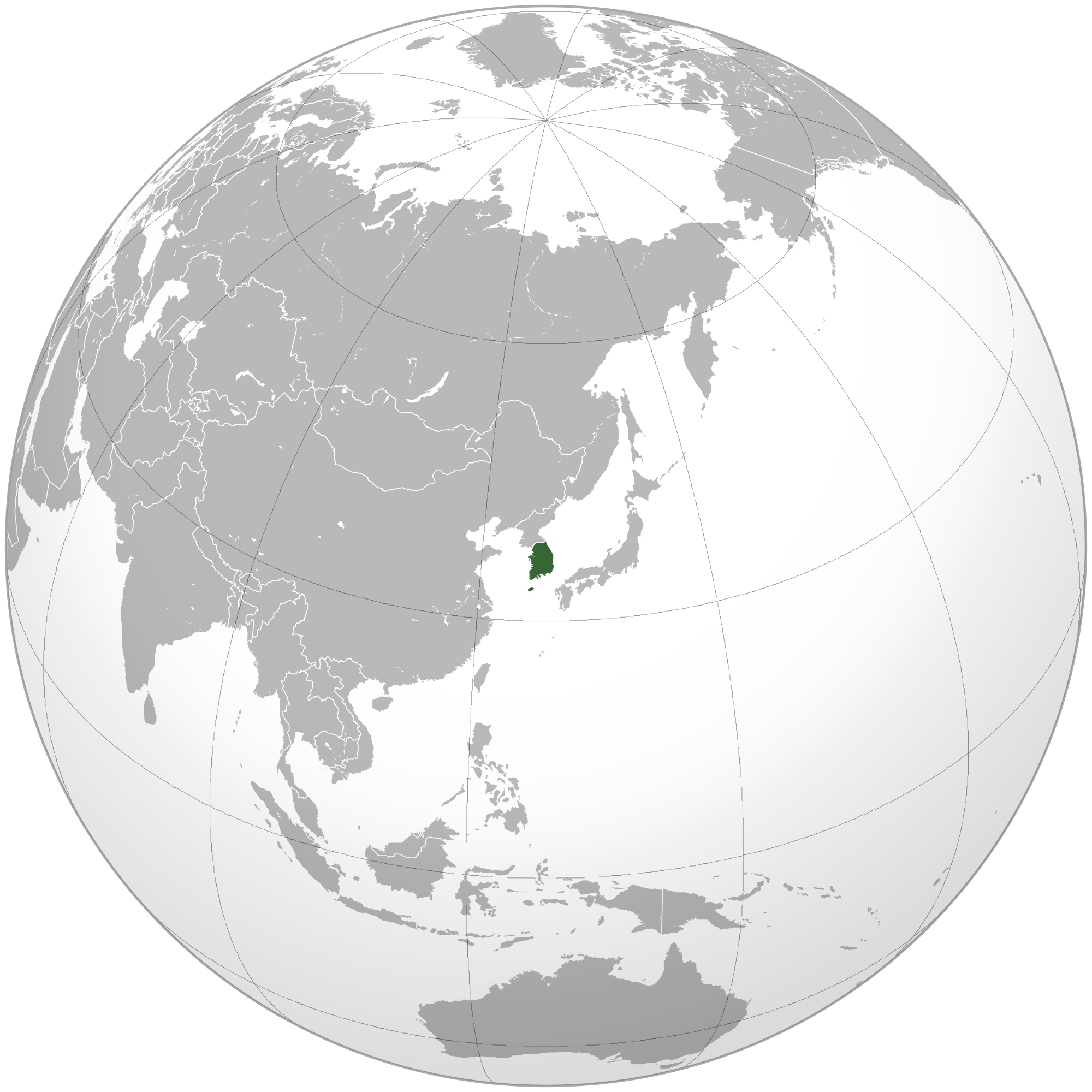 Location of the South Korea in the World Map