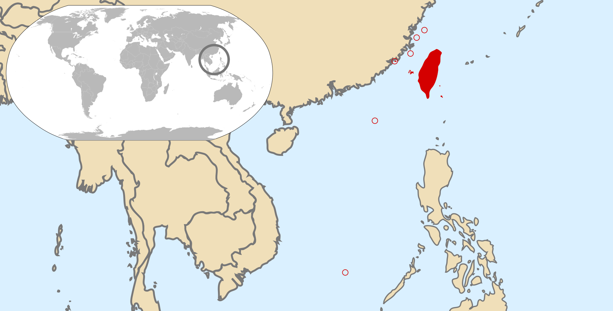 Location of the Taiwan in the World Map