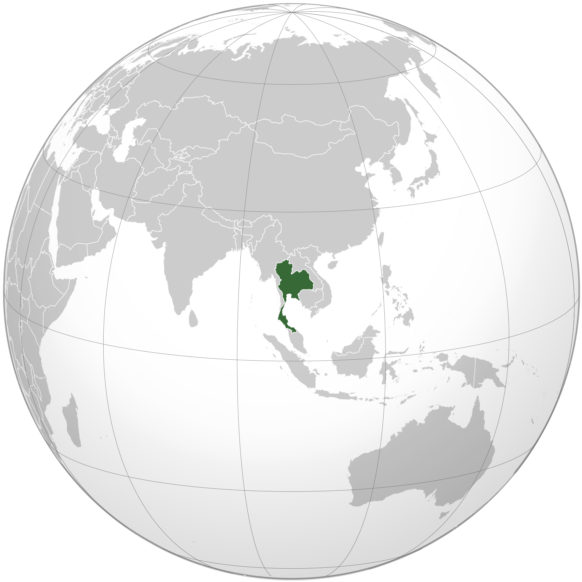 Location of the Thailand in the World Map