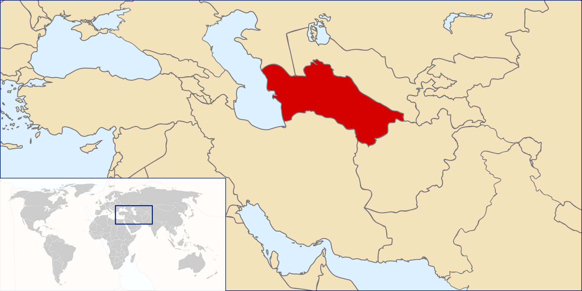 Location of the Turkmenistan in the World Map