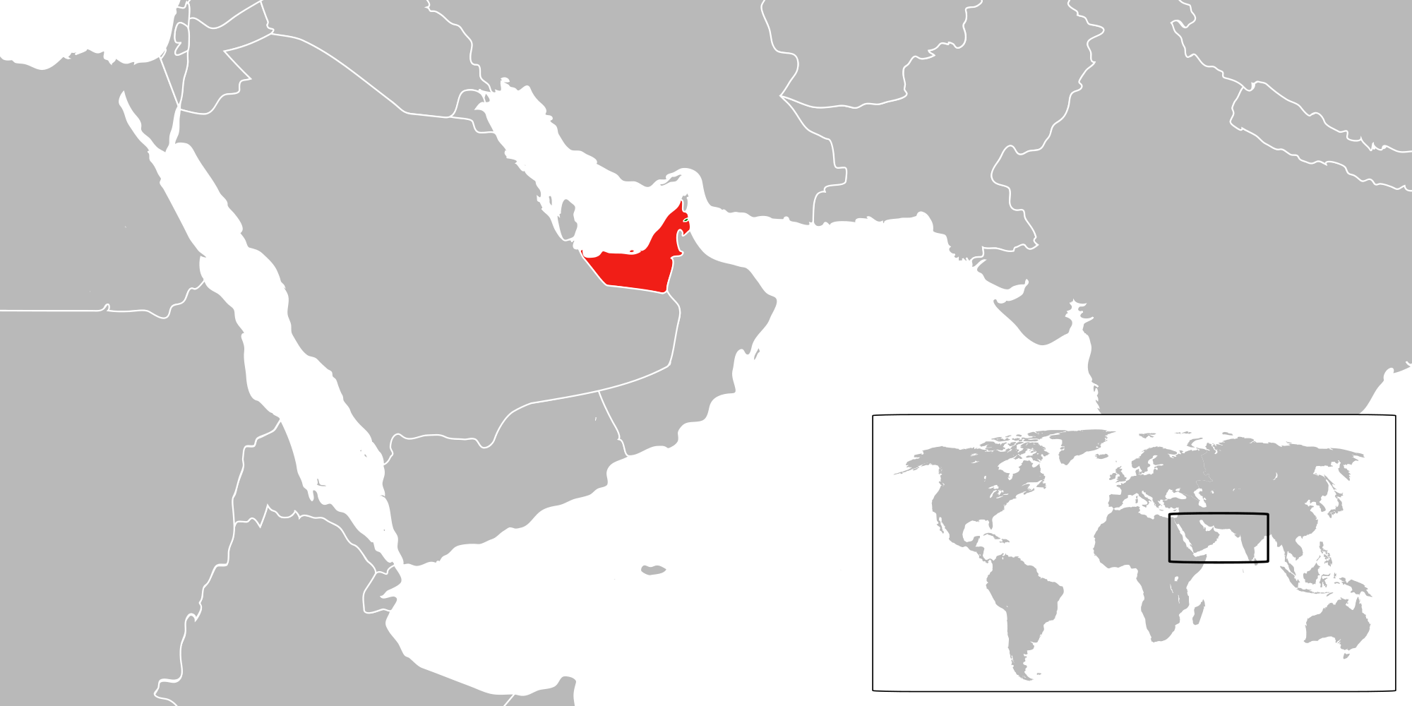Location of the United Arab Emirates in the World Map