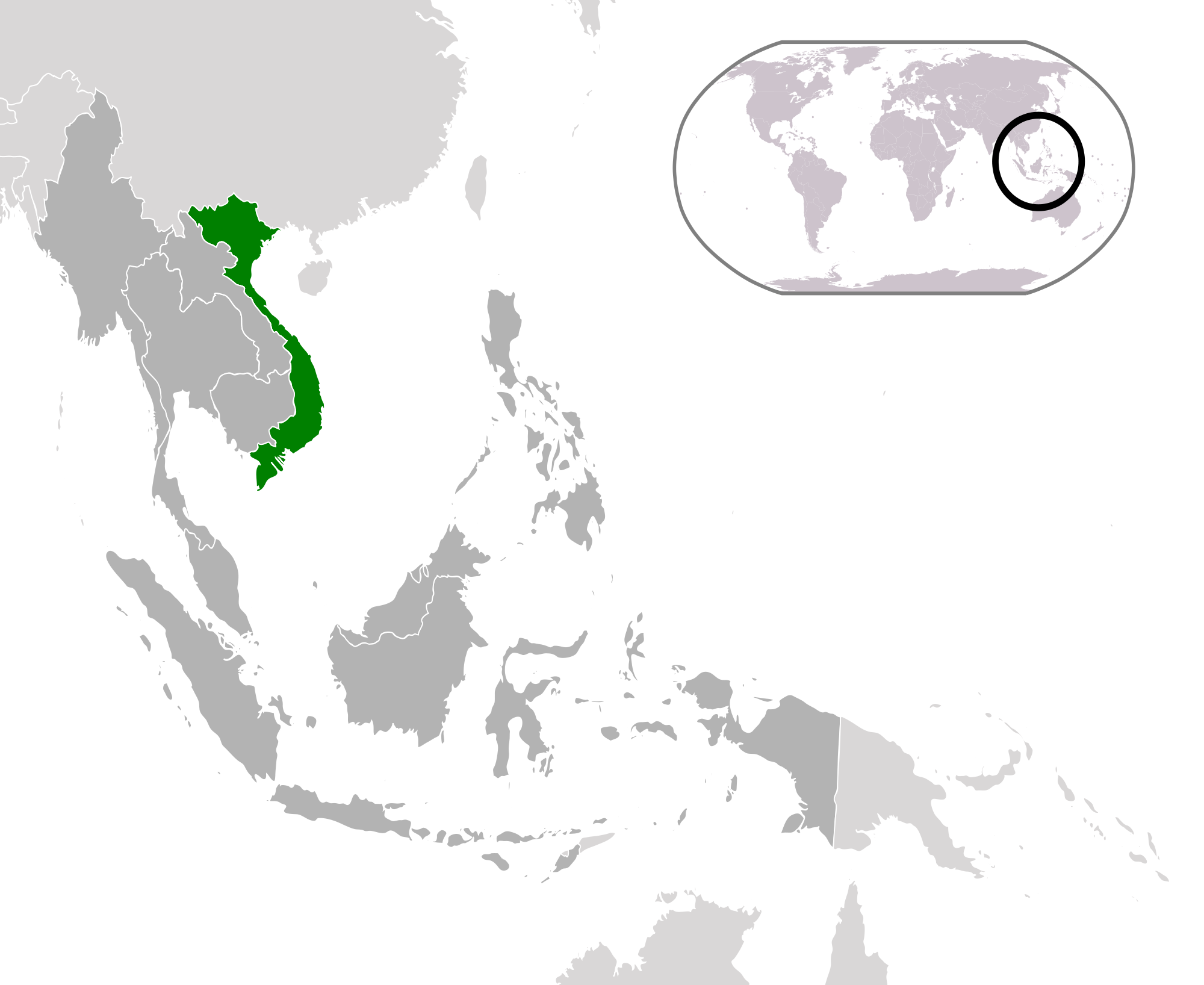 Location Of The Vietnam In The World Map