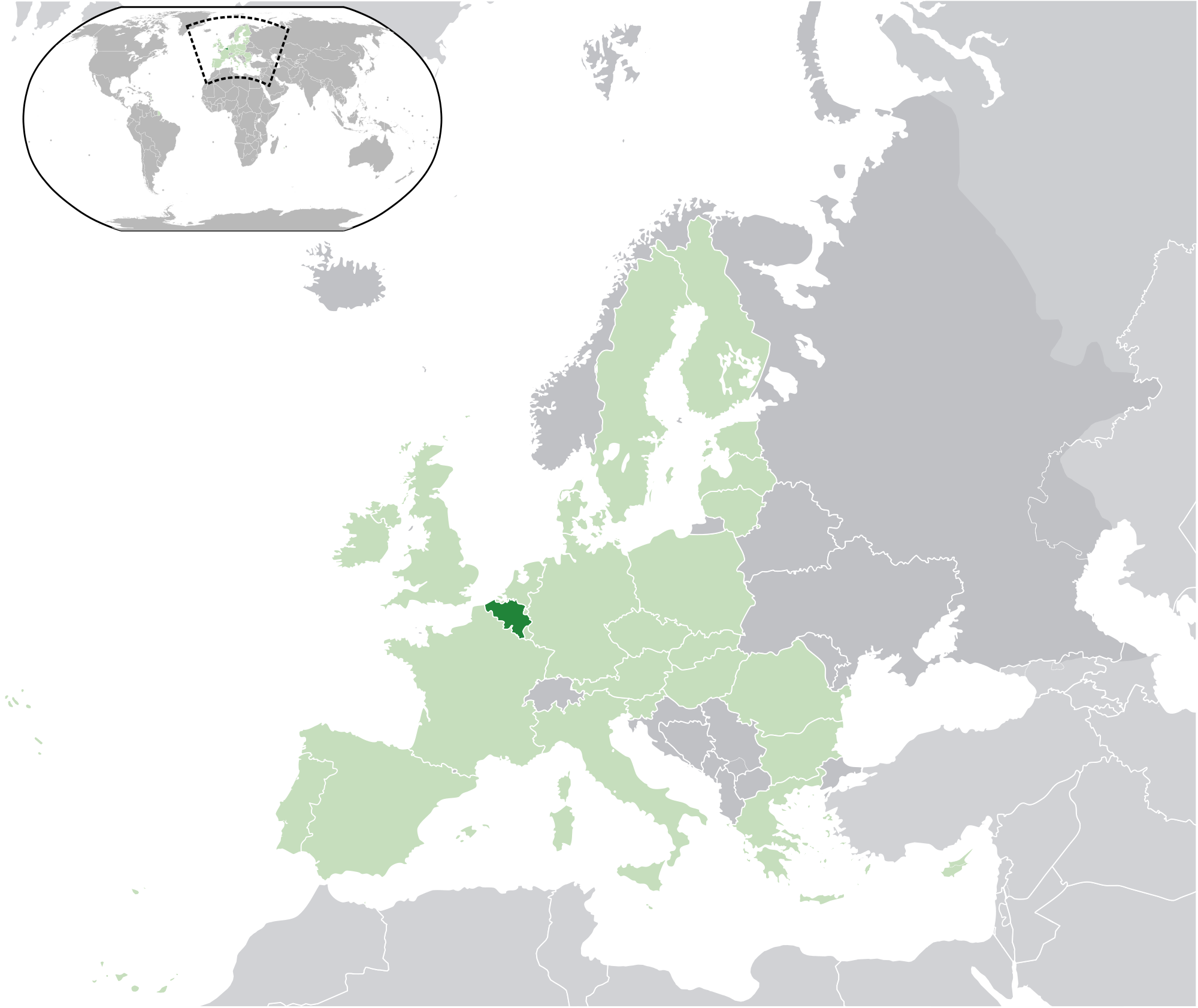 Location of the Belgium in the World Map – Location of Belgium on World Map