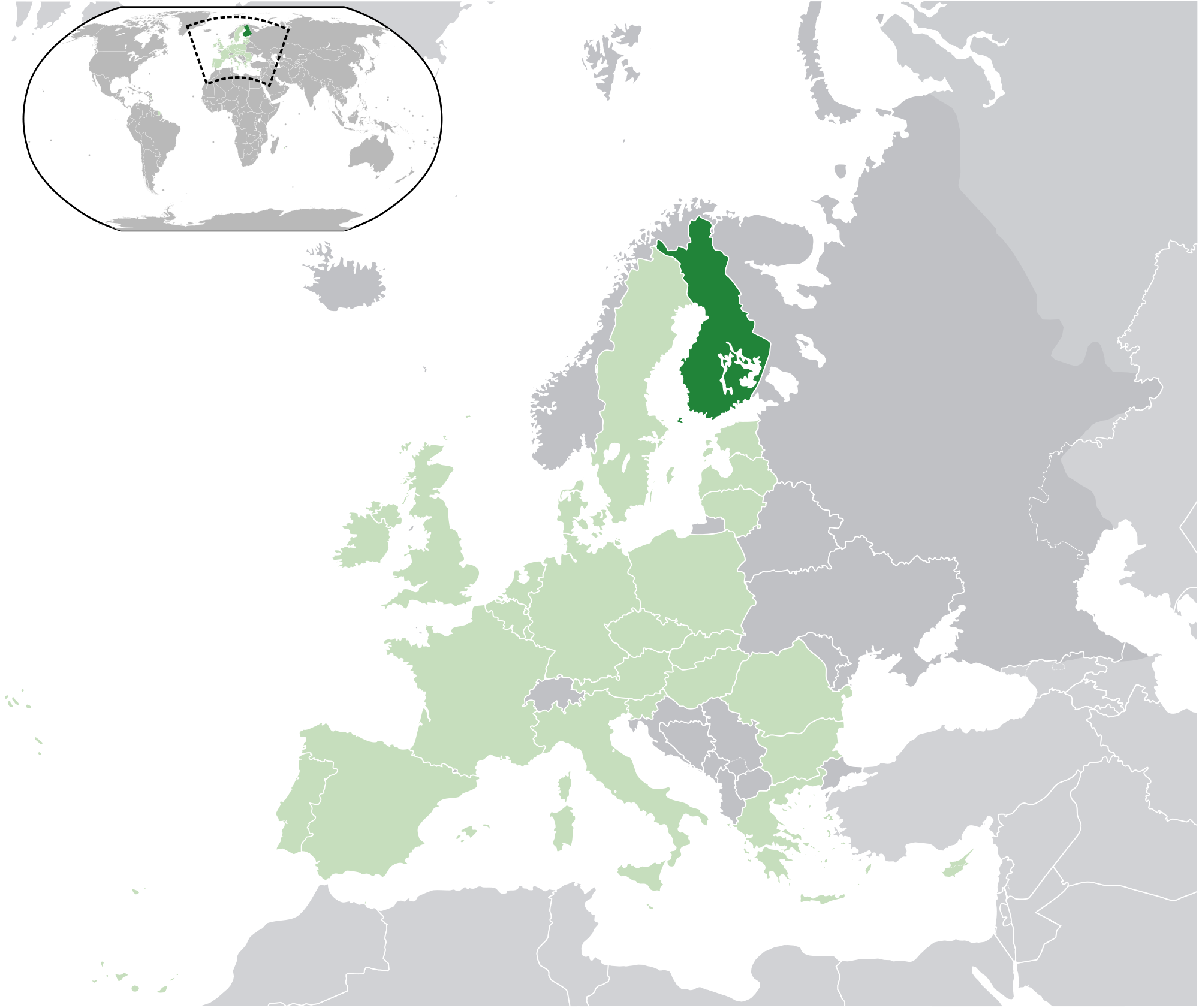 Location of the Finland in the World Map