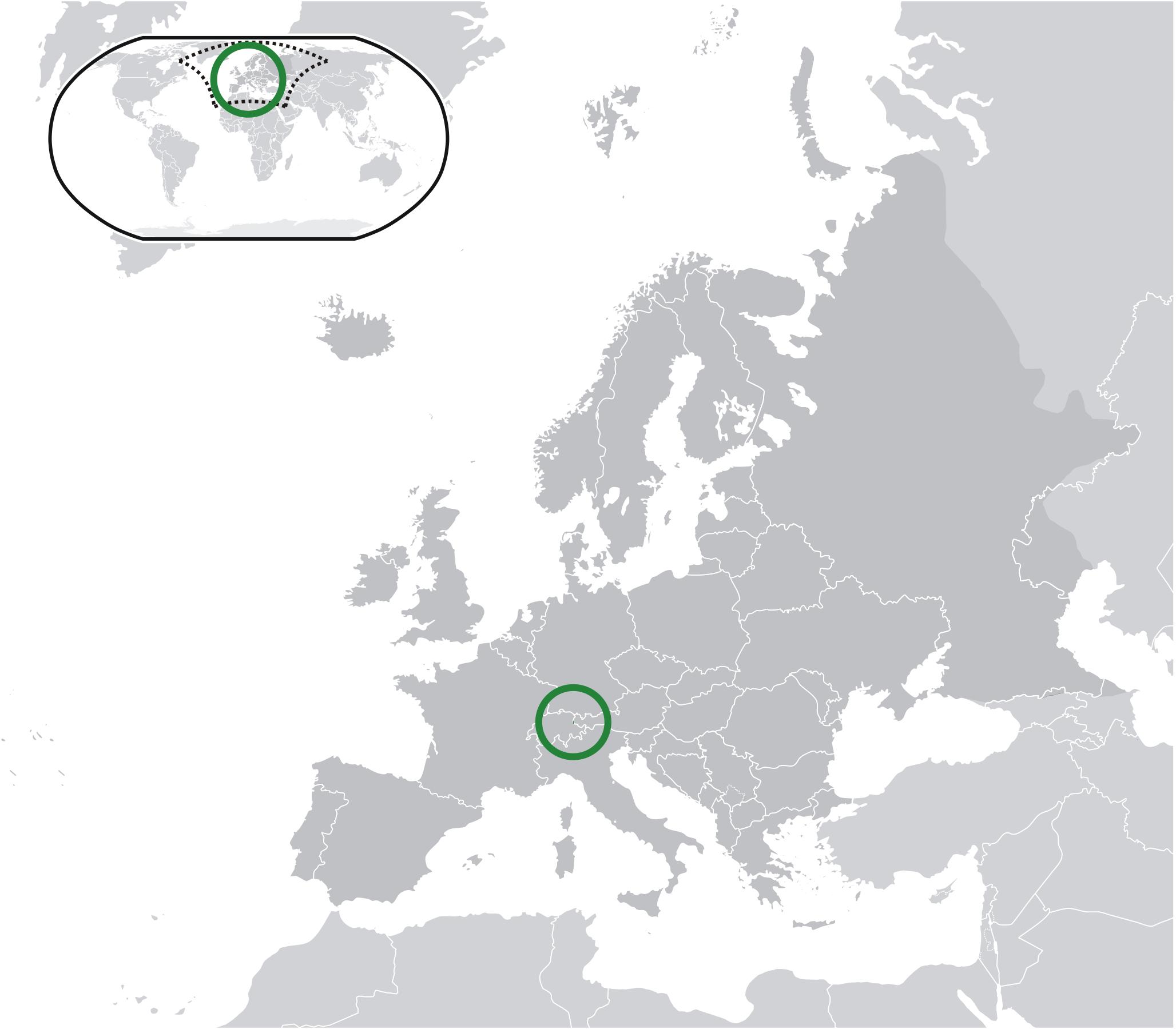 Location of the Liechtenstein in the World Map