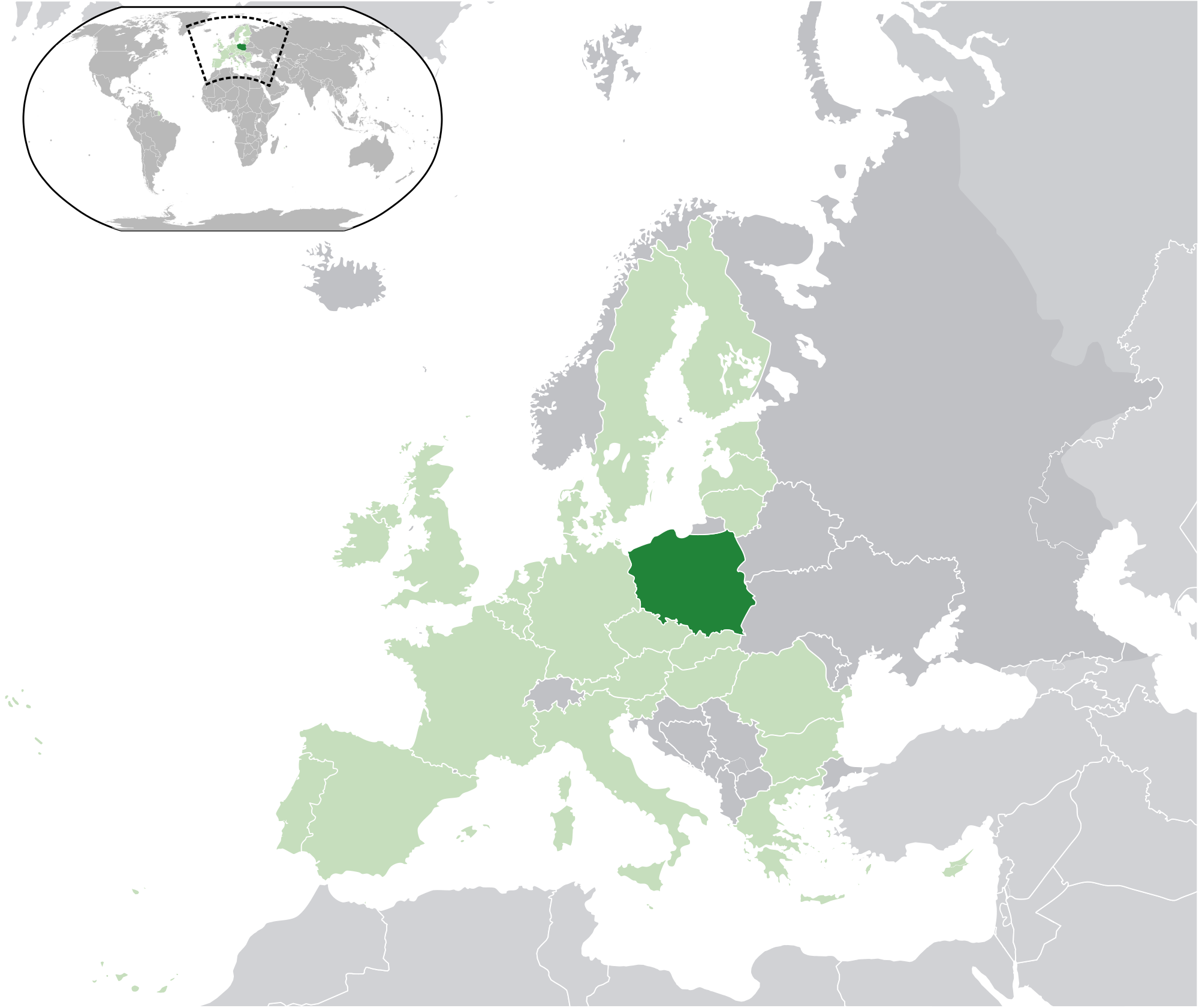 Poland On The World Map.Location Of The Poland In The World Map