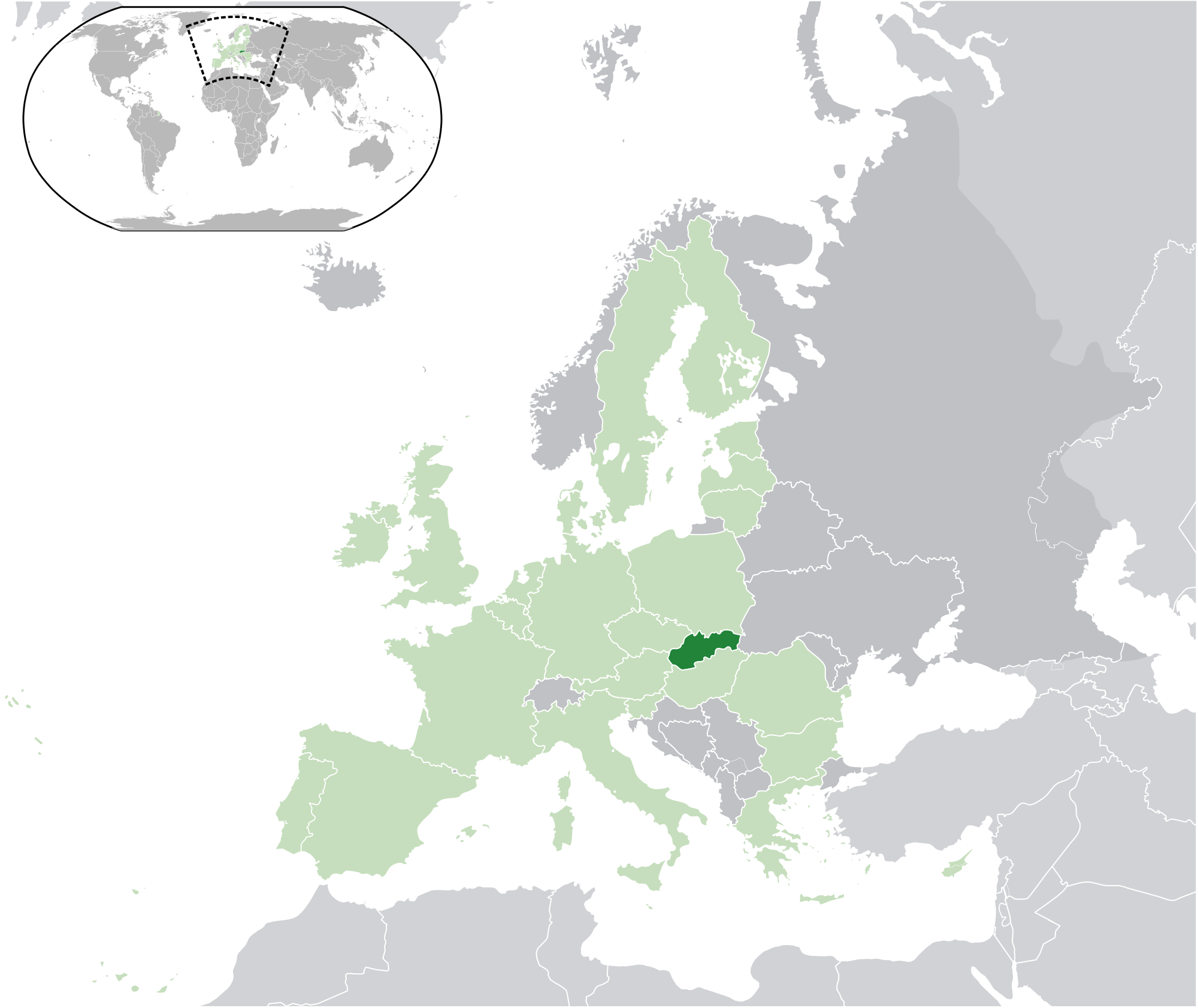 Location of the Slovakia in the World Map