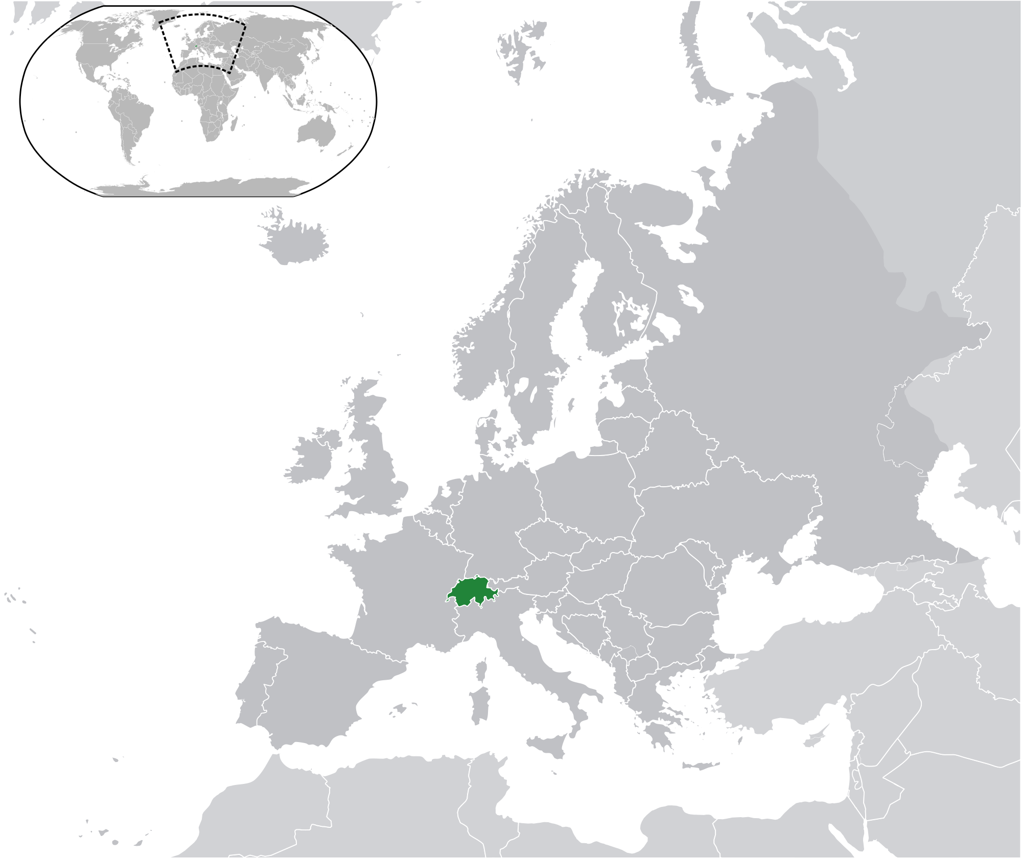 Location Of The Switzerland In The World Map