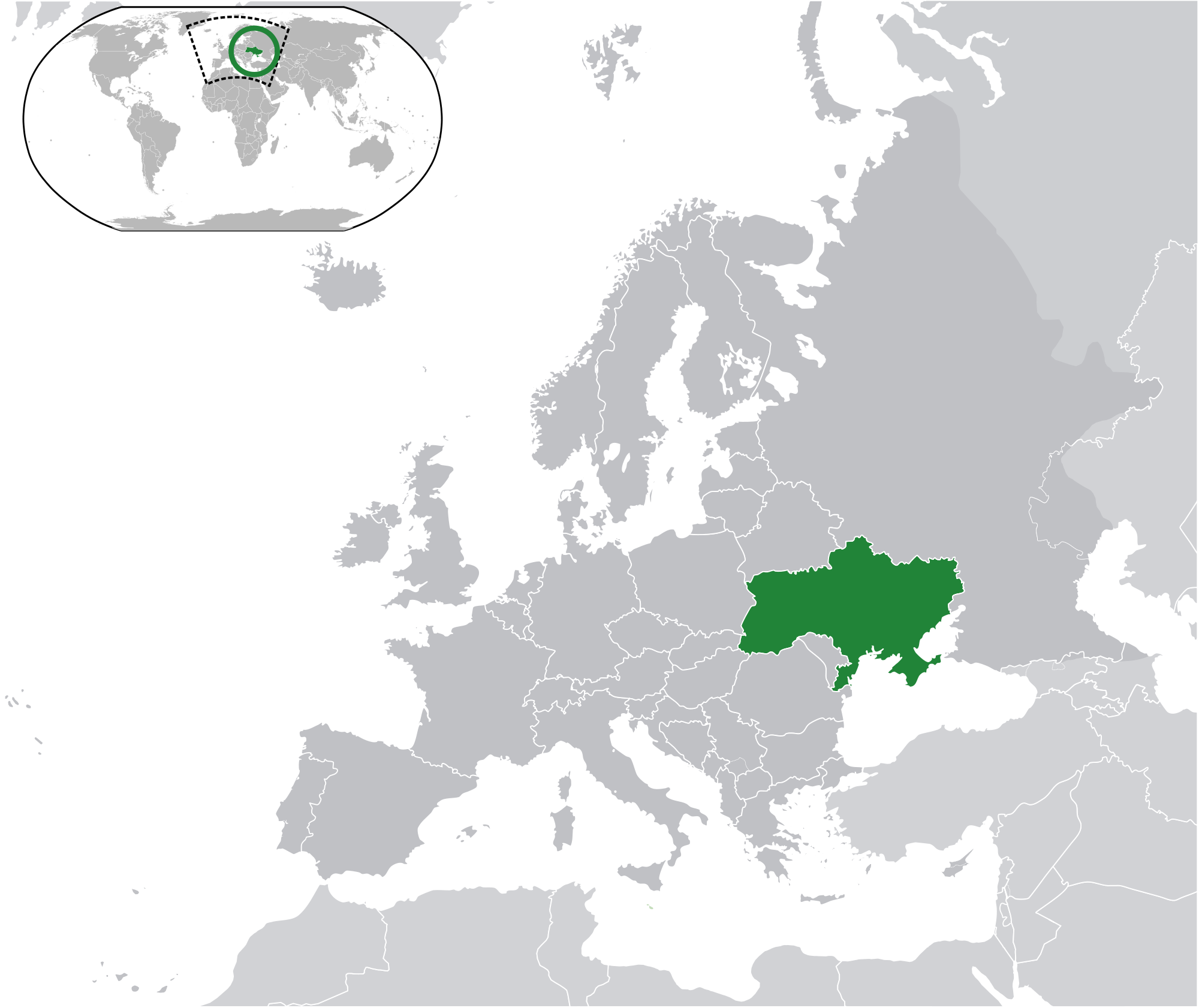 Location of the Ukraine in the World Map
