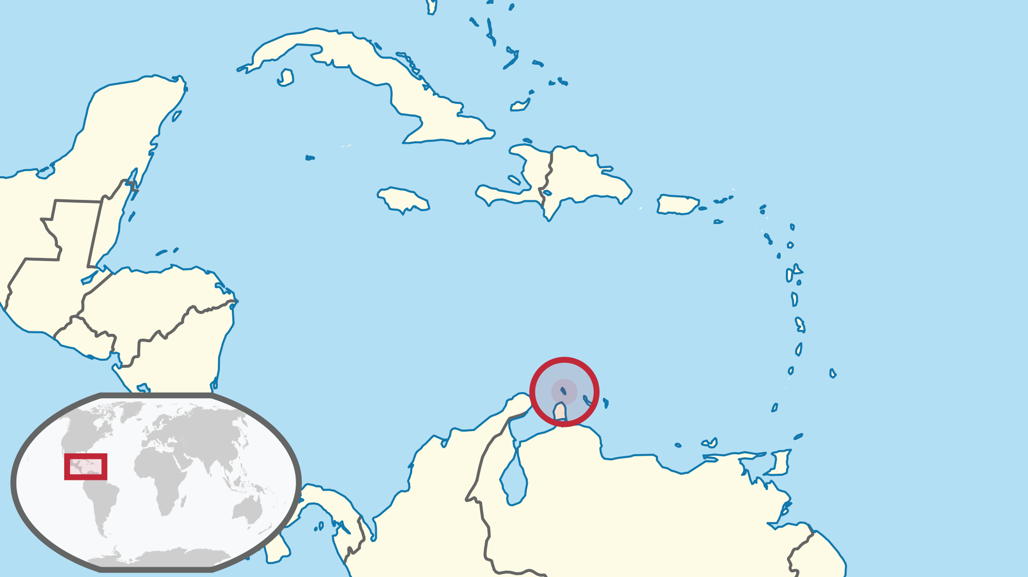Location of the Aruba in the World Map