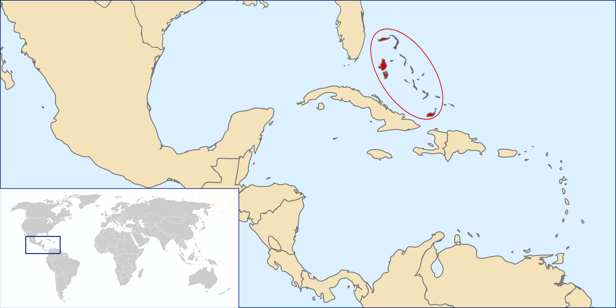Location of the bahamas in the World Map