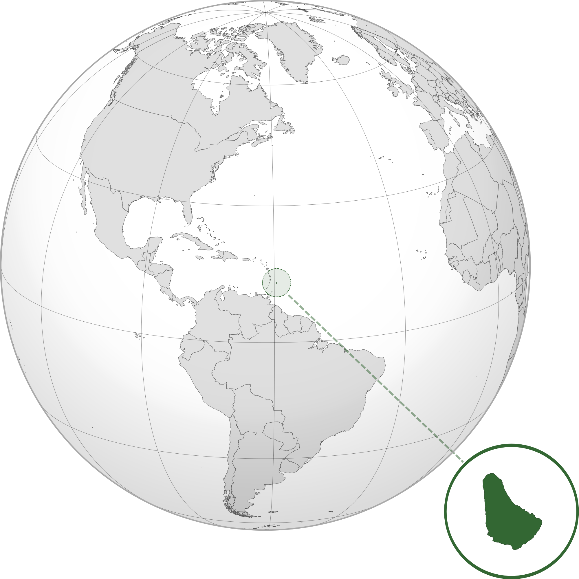 Location Of The Barbados In The World Map - Barbados map of us