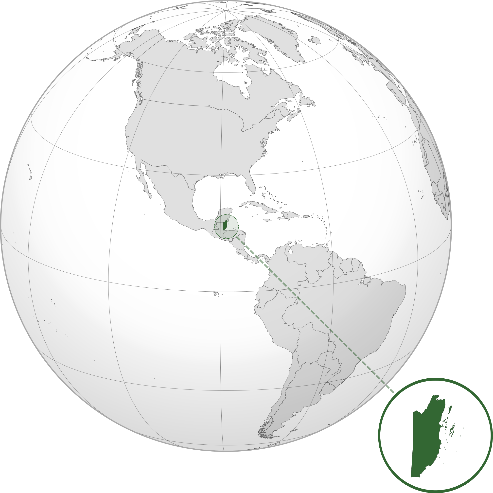 Location of the belize in the World Map