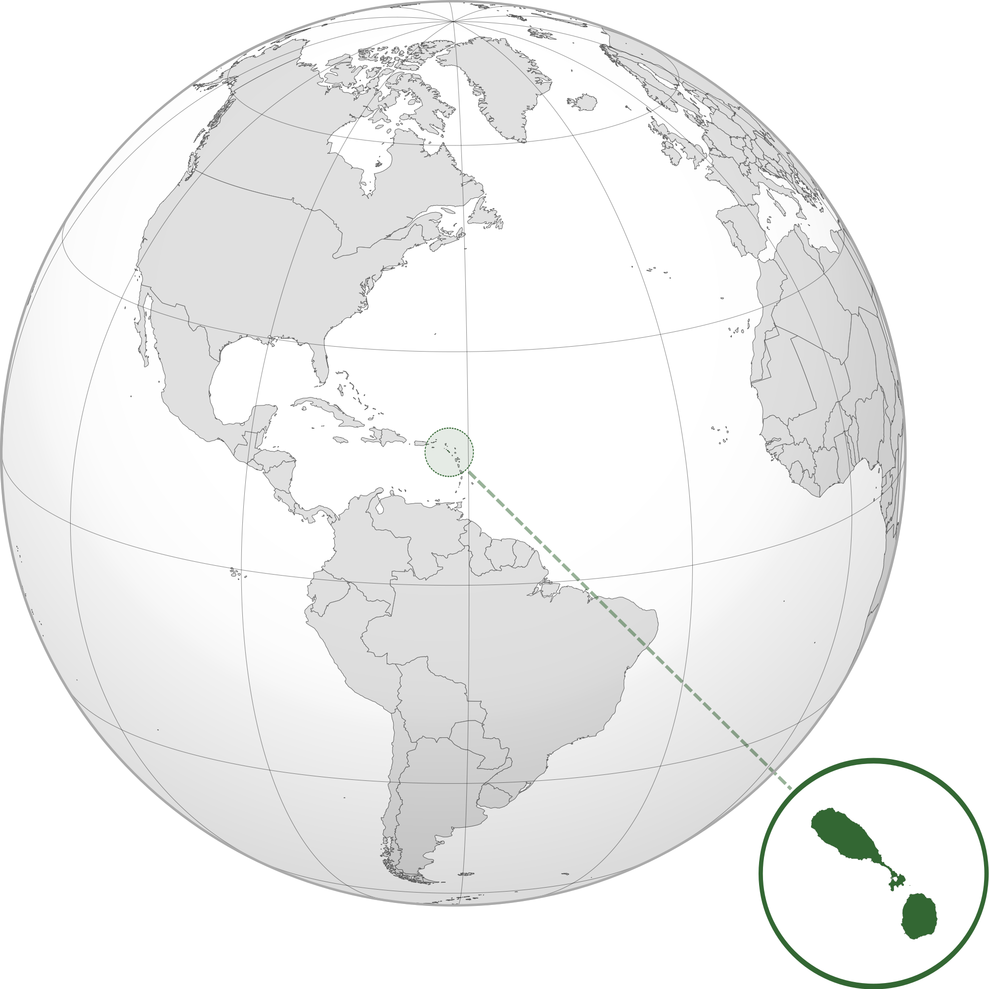 Location of the Saint Kitts and Nevis in the World Map