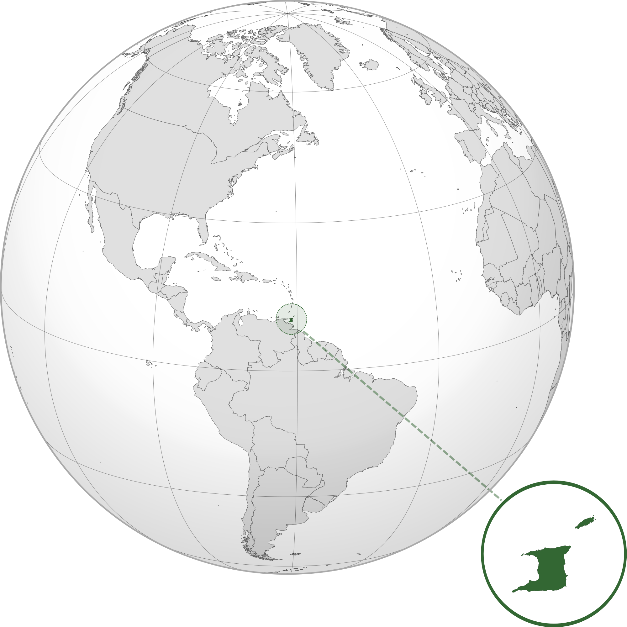 Location of the Trinidad and Tobago in the World Map