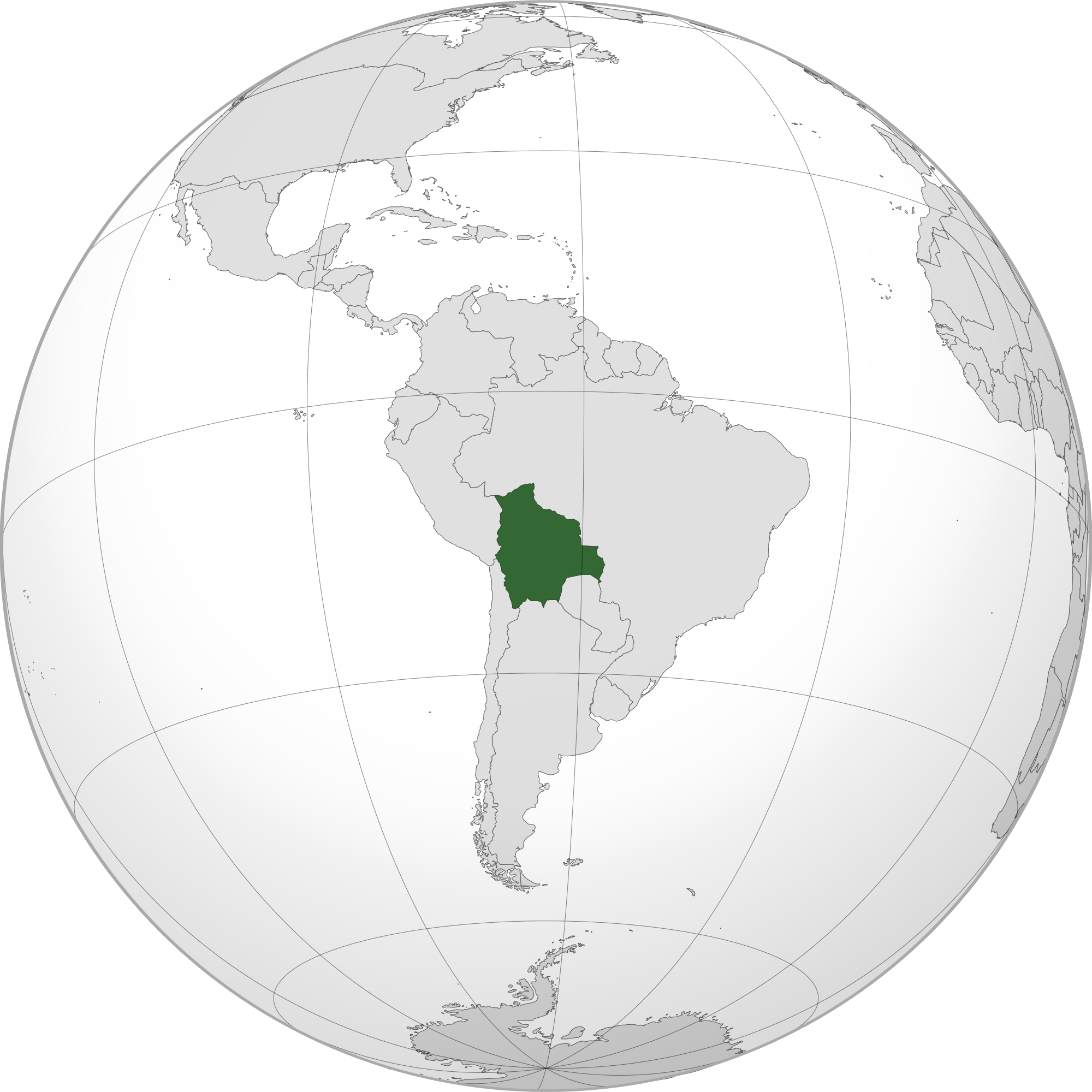Location of the bolivia in the World Map