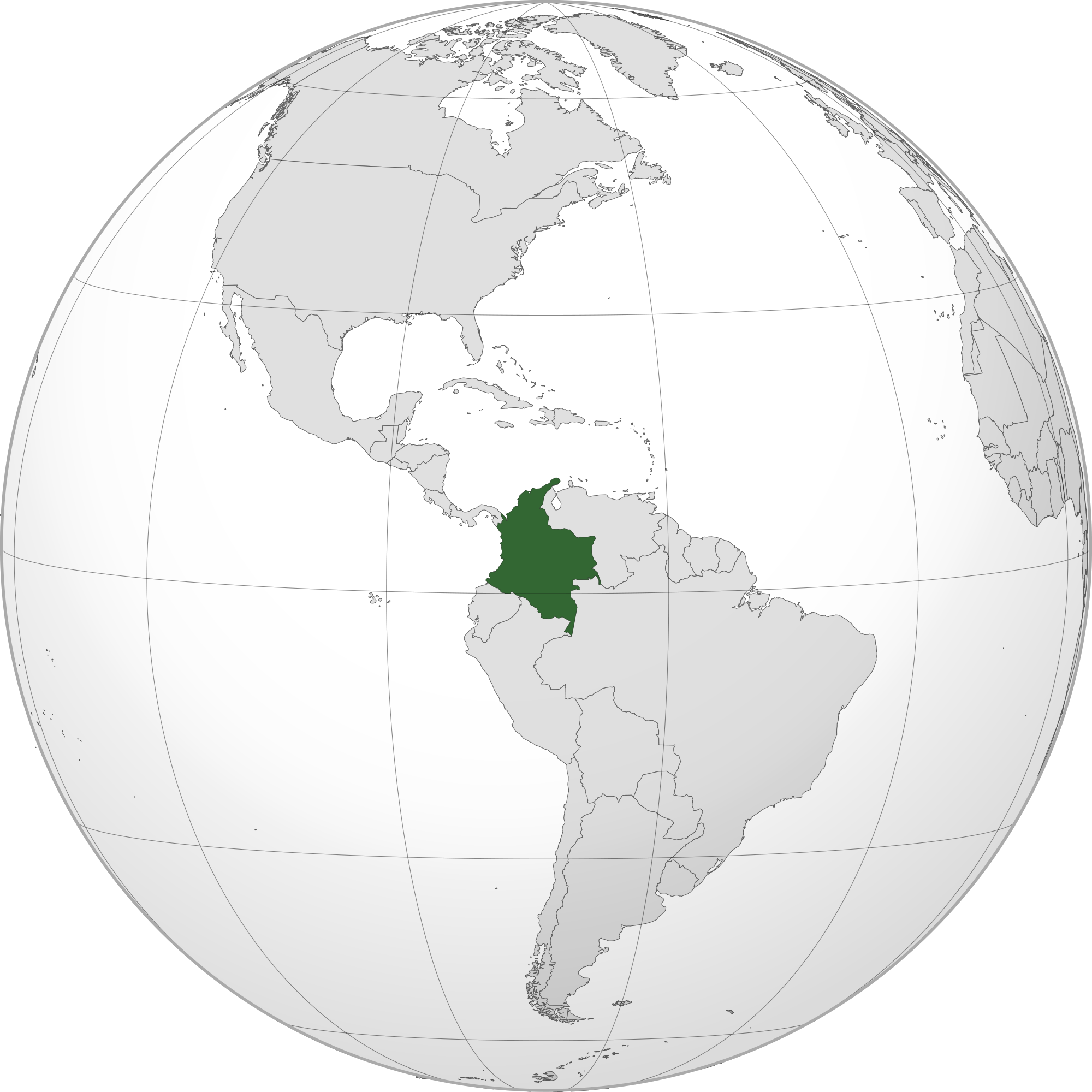 Location of the colombia in the World Map