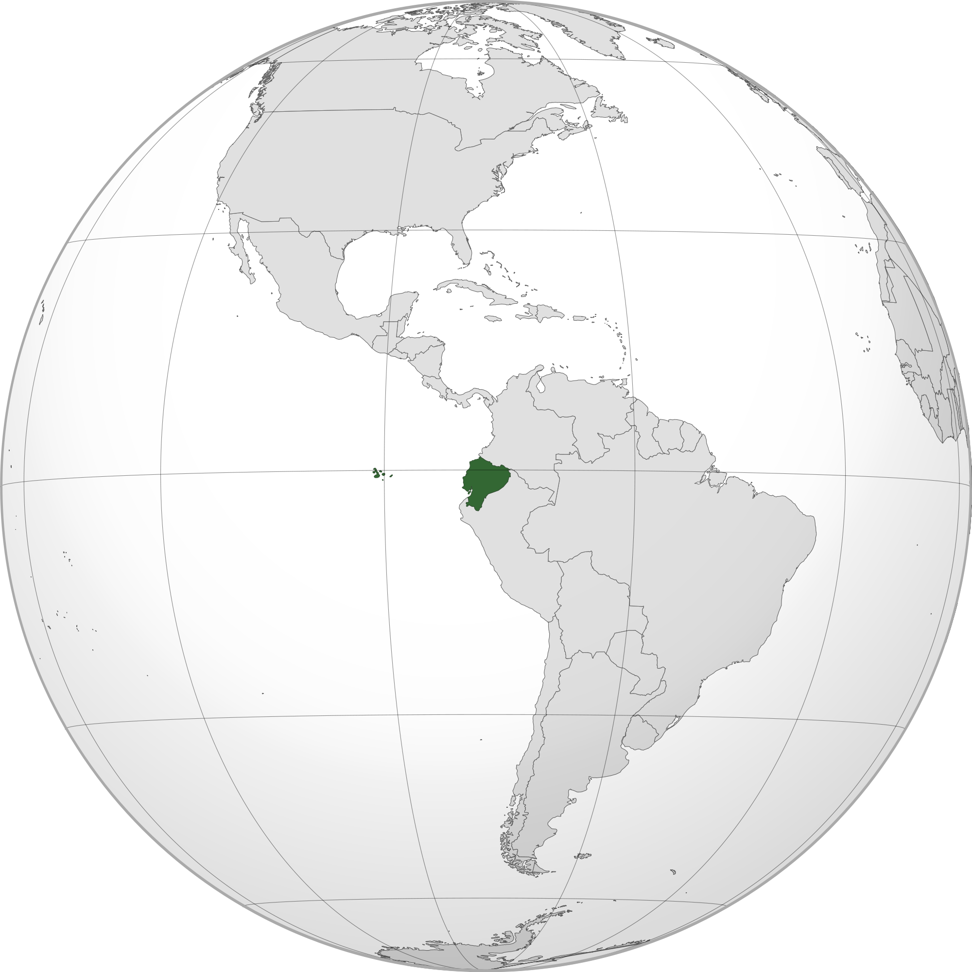 Location of the ecuador in the World Map