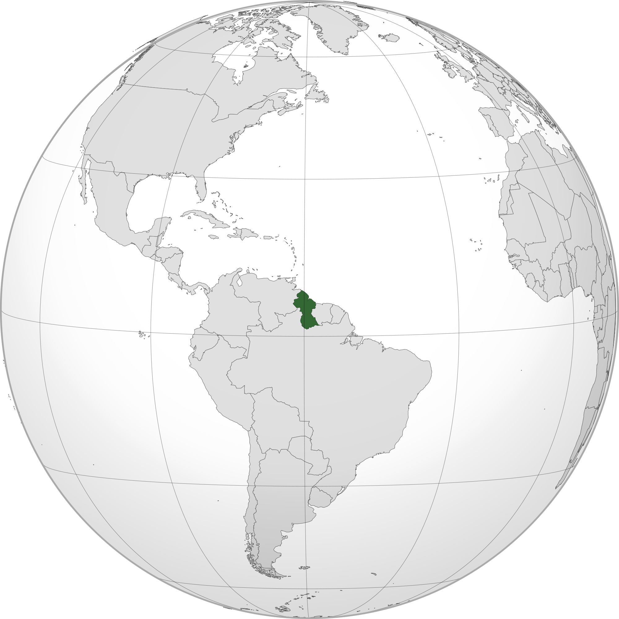 Location of the guyana in the World Map