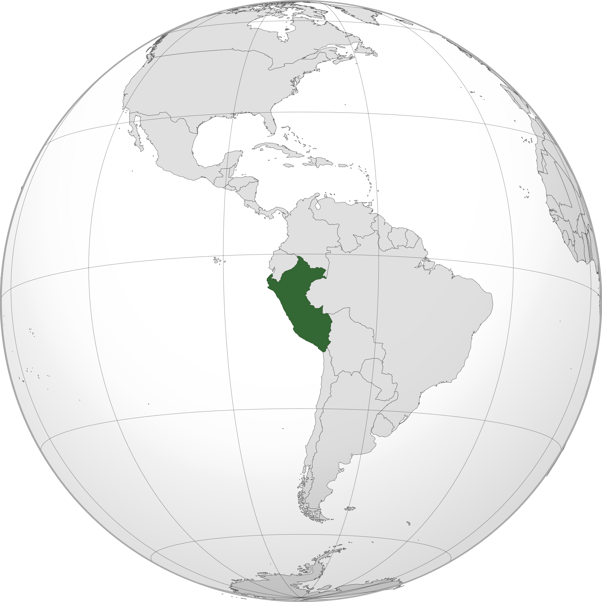 Location of the peru in the World Map