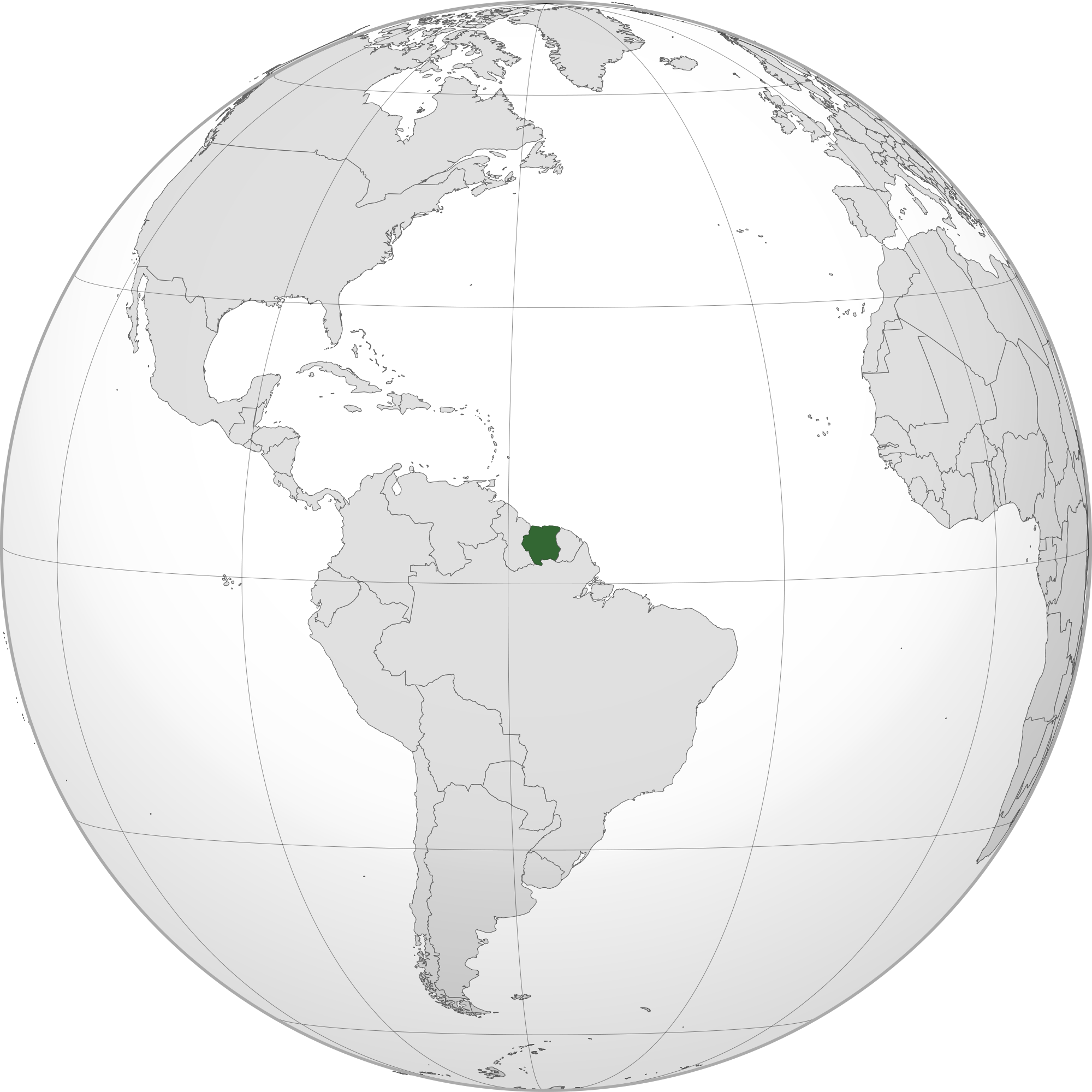 Location Of The Suriname In The World Map