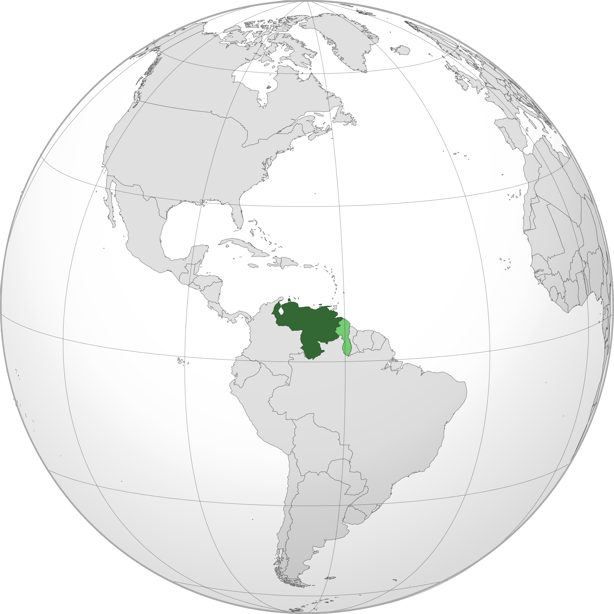 Location of the venezuela in the World Map