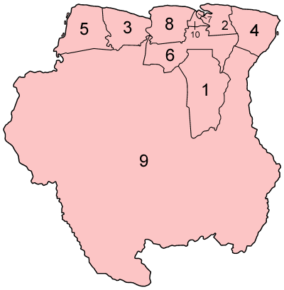 Suriname Administrative divisions