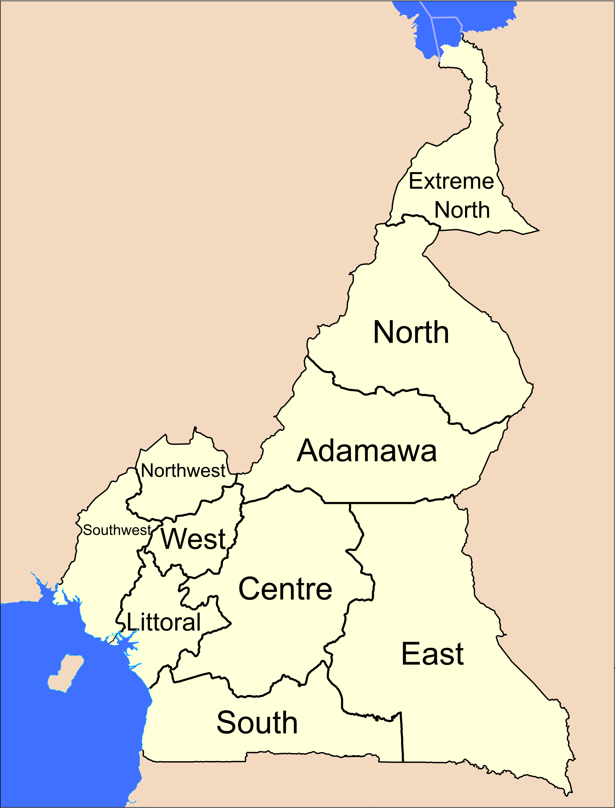 Cameroon Administrative divisions Map