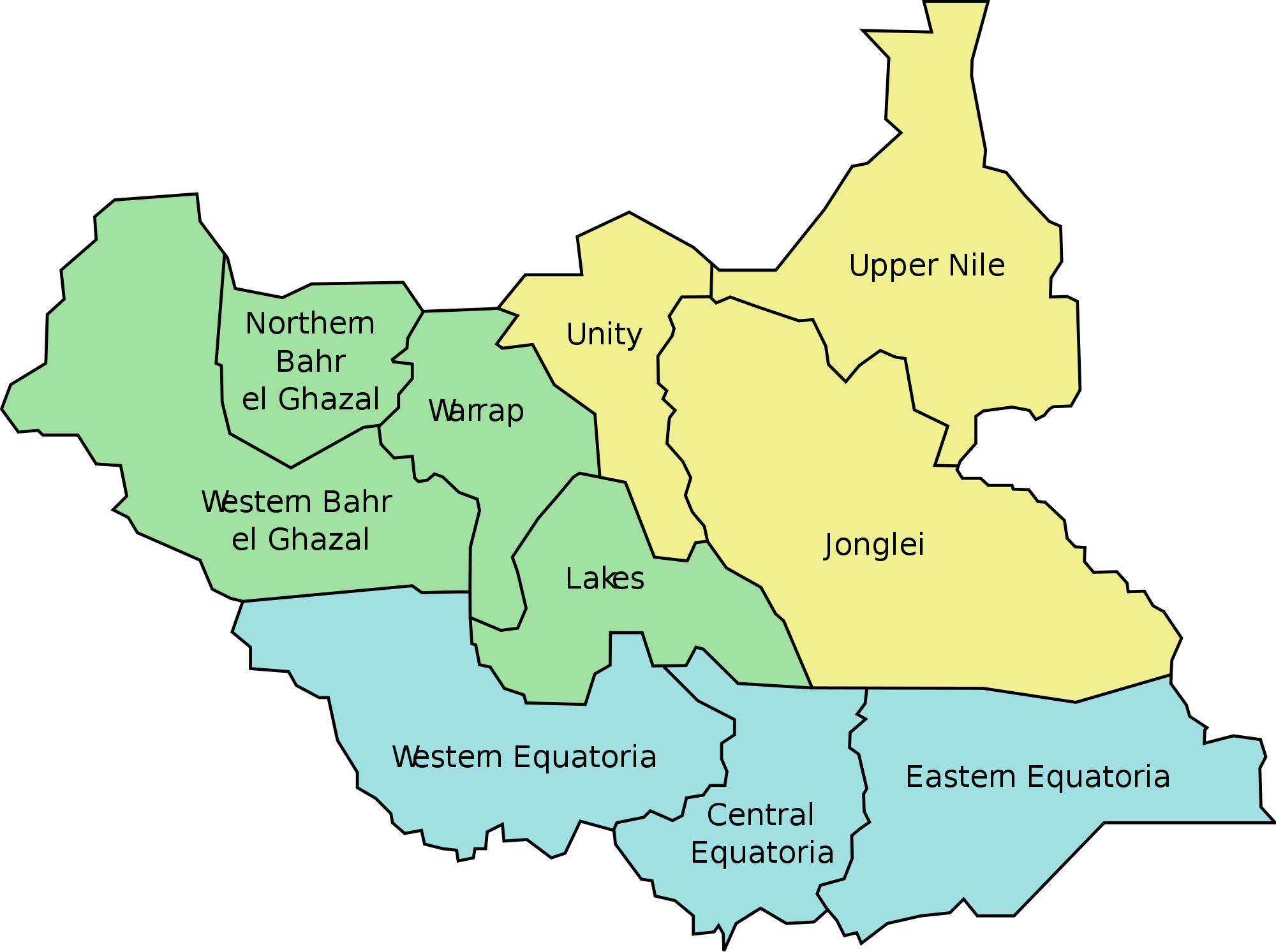 South Sudan Administrative divisions Map
