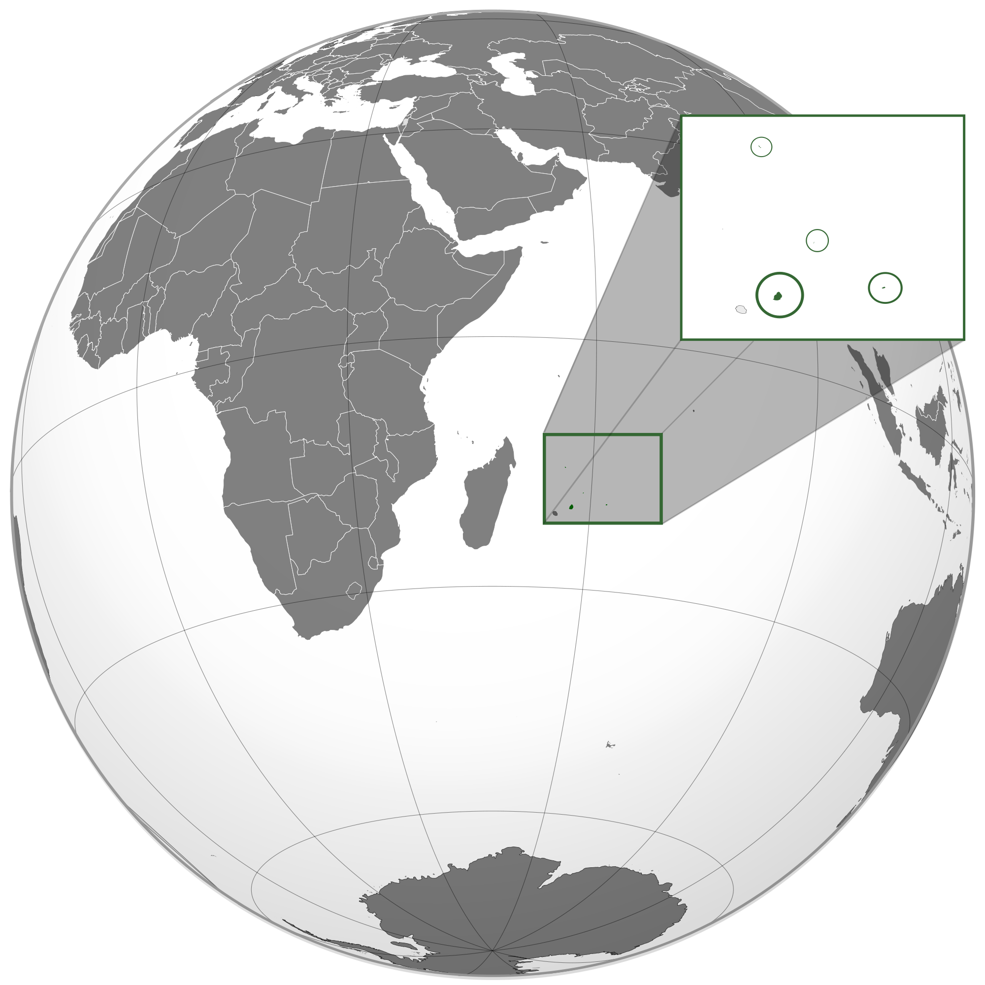 Location of the Mauritius in the World Map