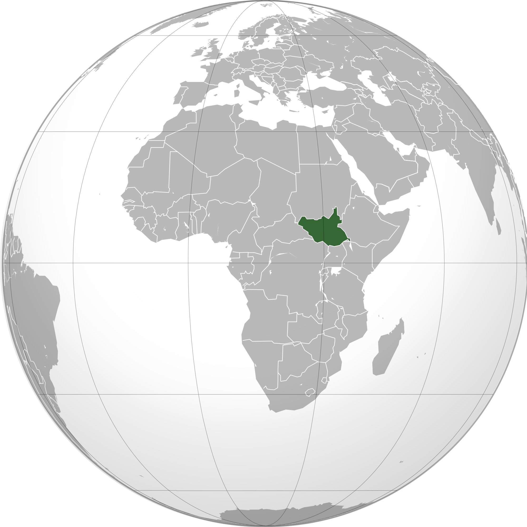 Location of the South Sudan in the World Map