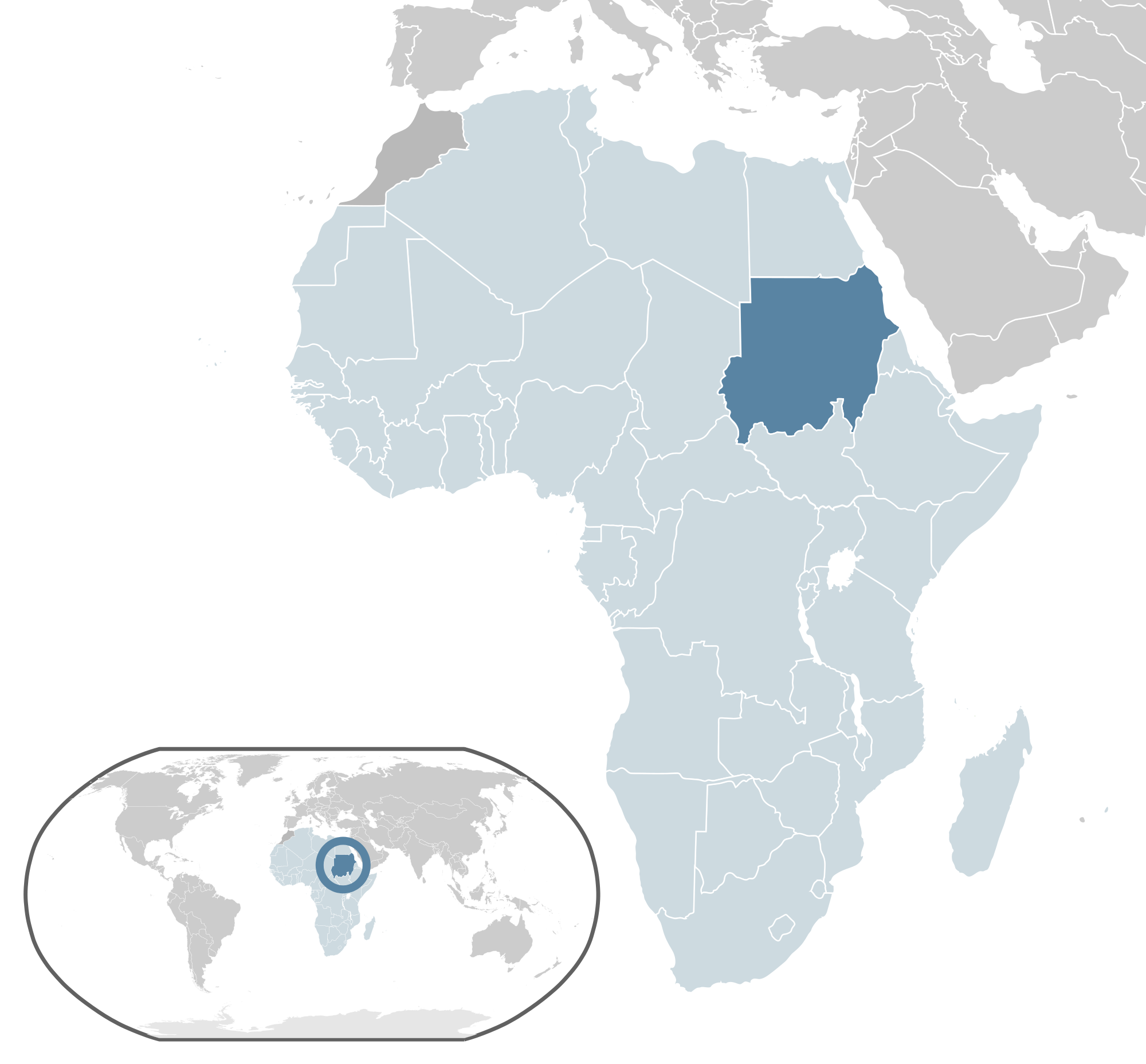 Location of the Sudan in the World Map