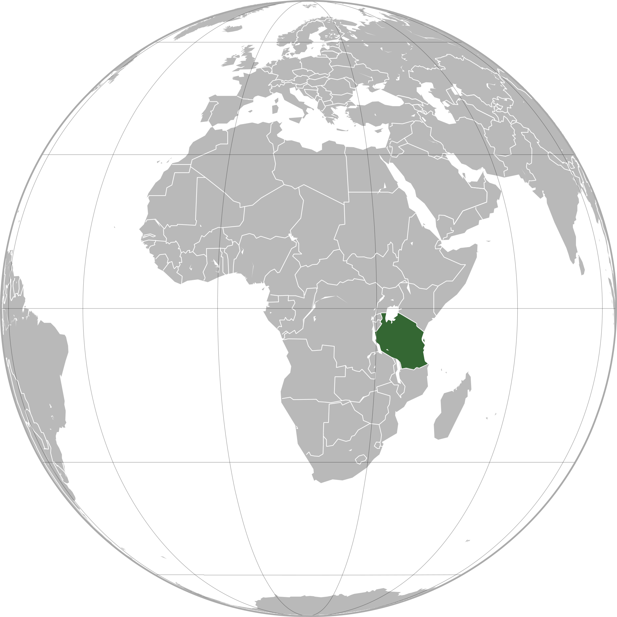 Location of the Tanzania in the World Map