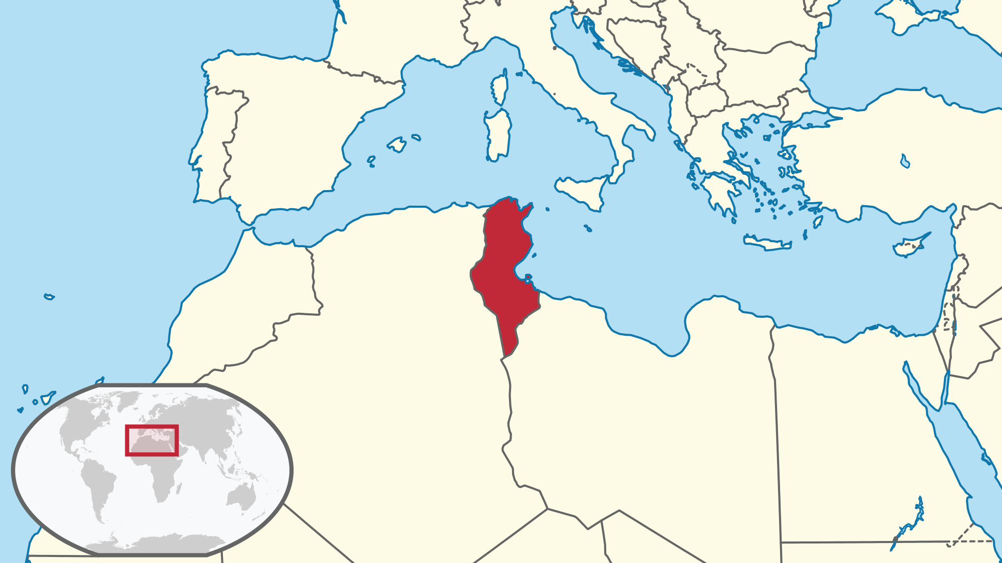Location Of The Tunisia In The World Map