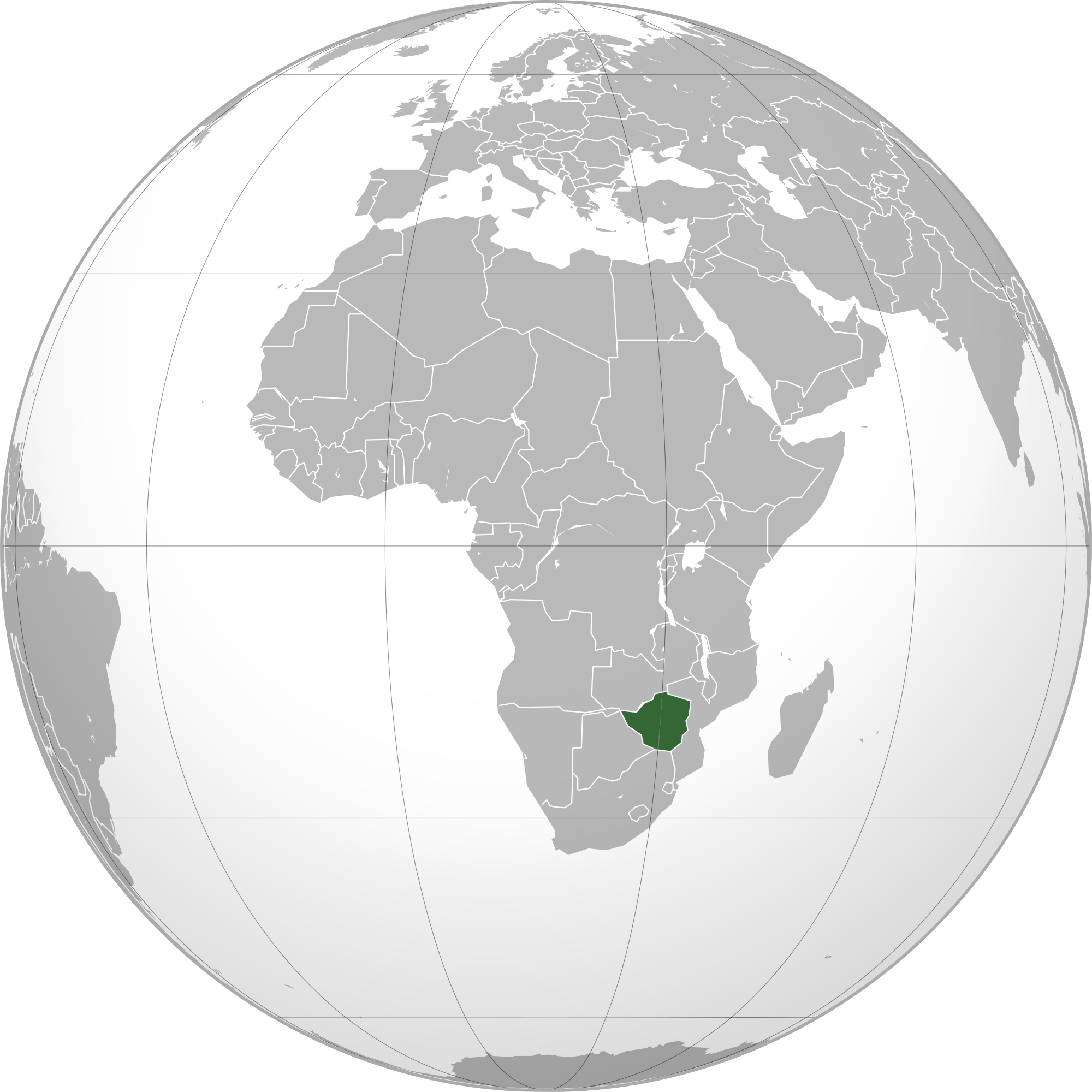 Location of the Zimbabwe in the World Map