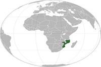 Mozambique Location in World Map