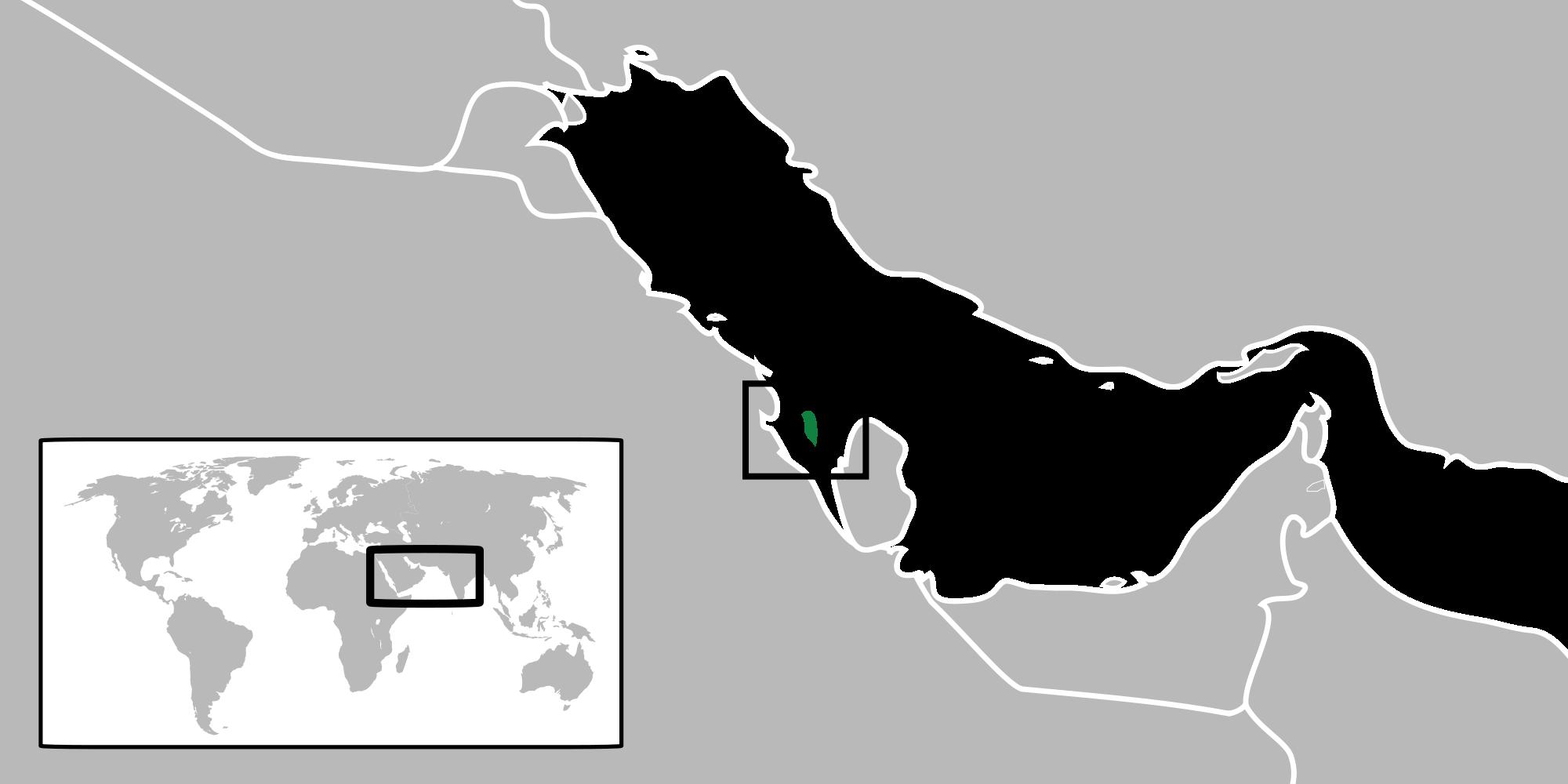 Location of the Bahrainin the World Map
