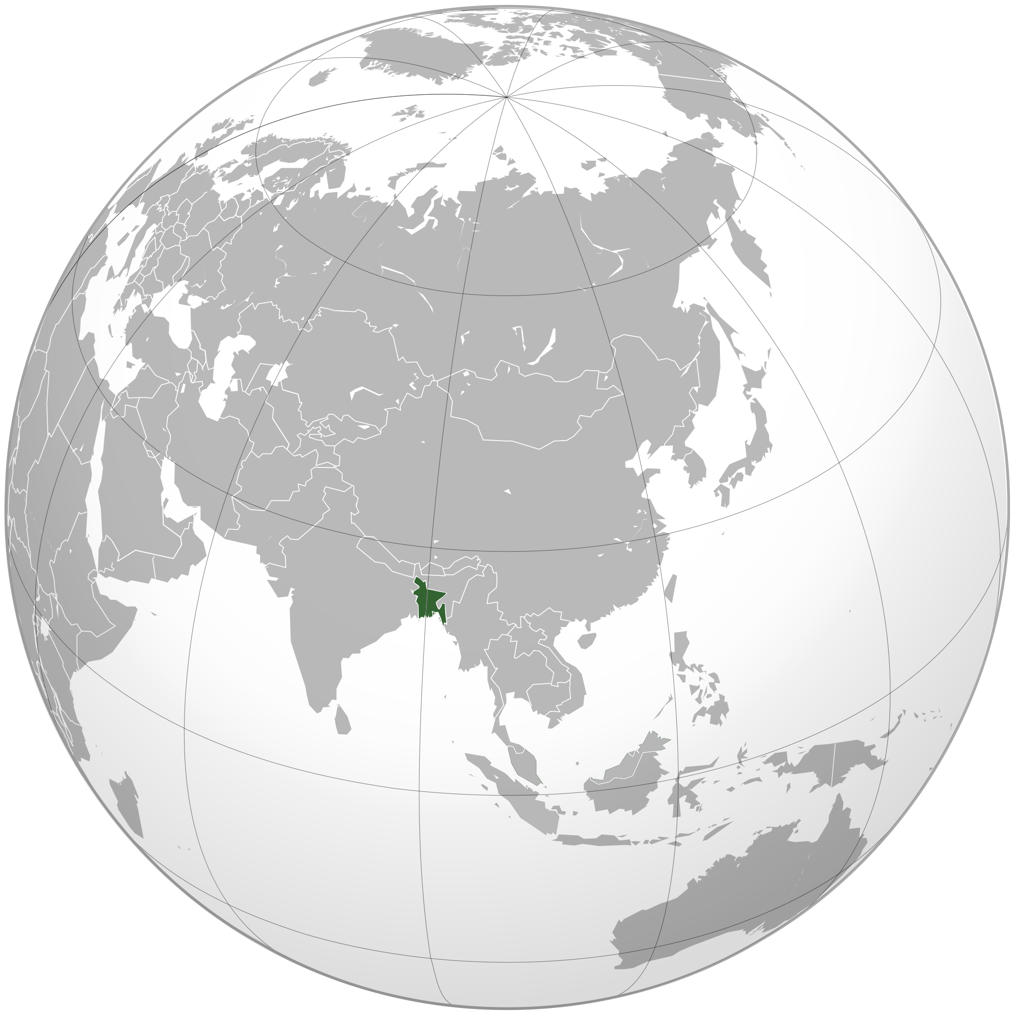 Location of the Bangladesh in the World Map