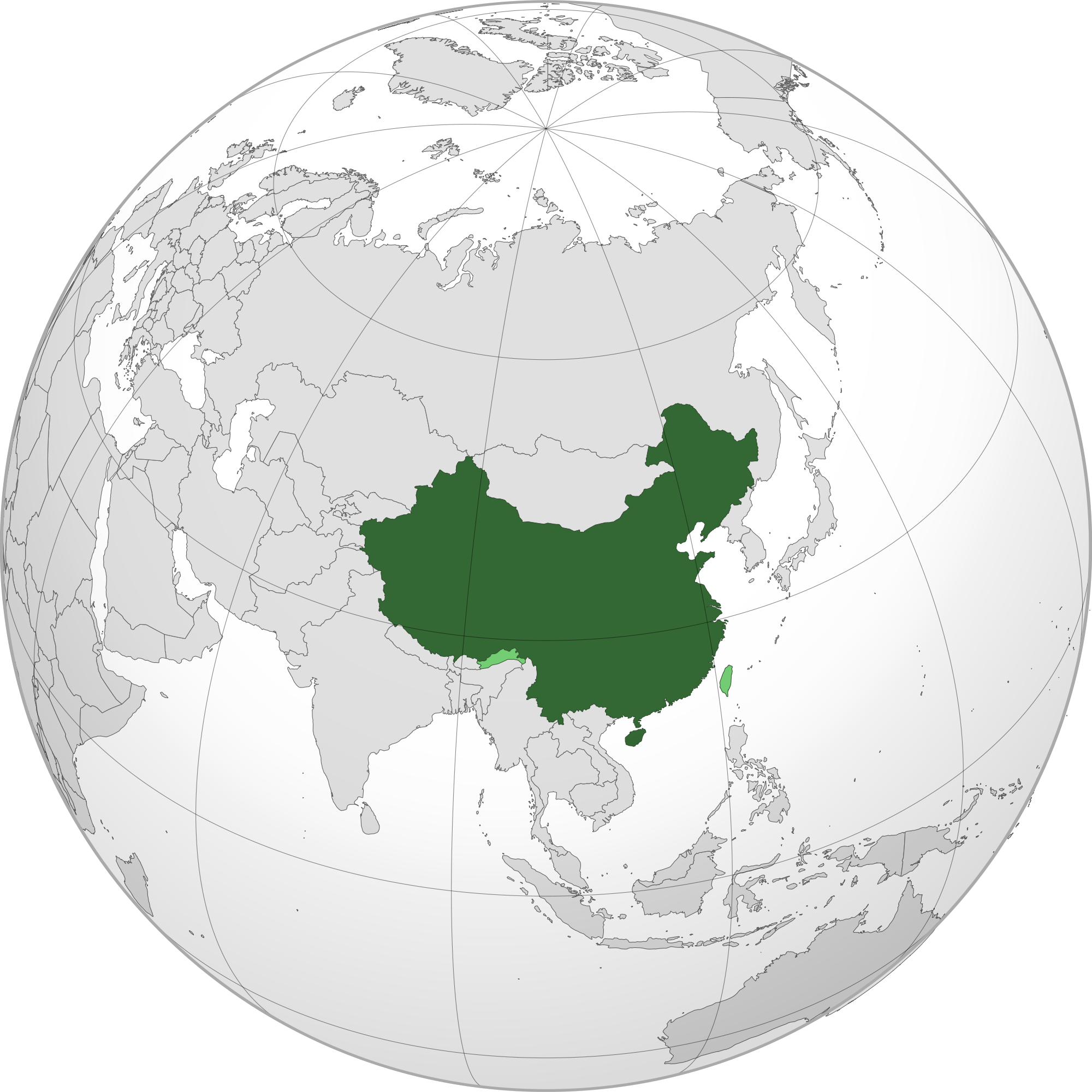 Location of the China in the World Map on