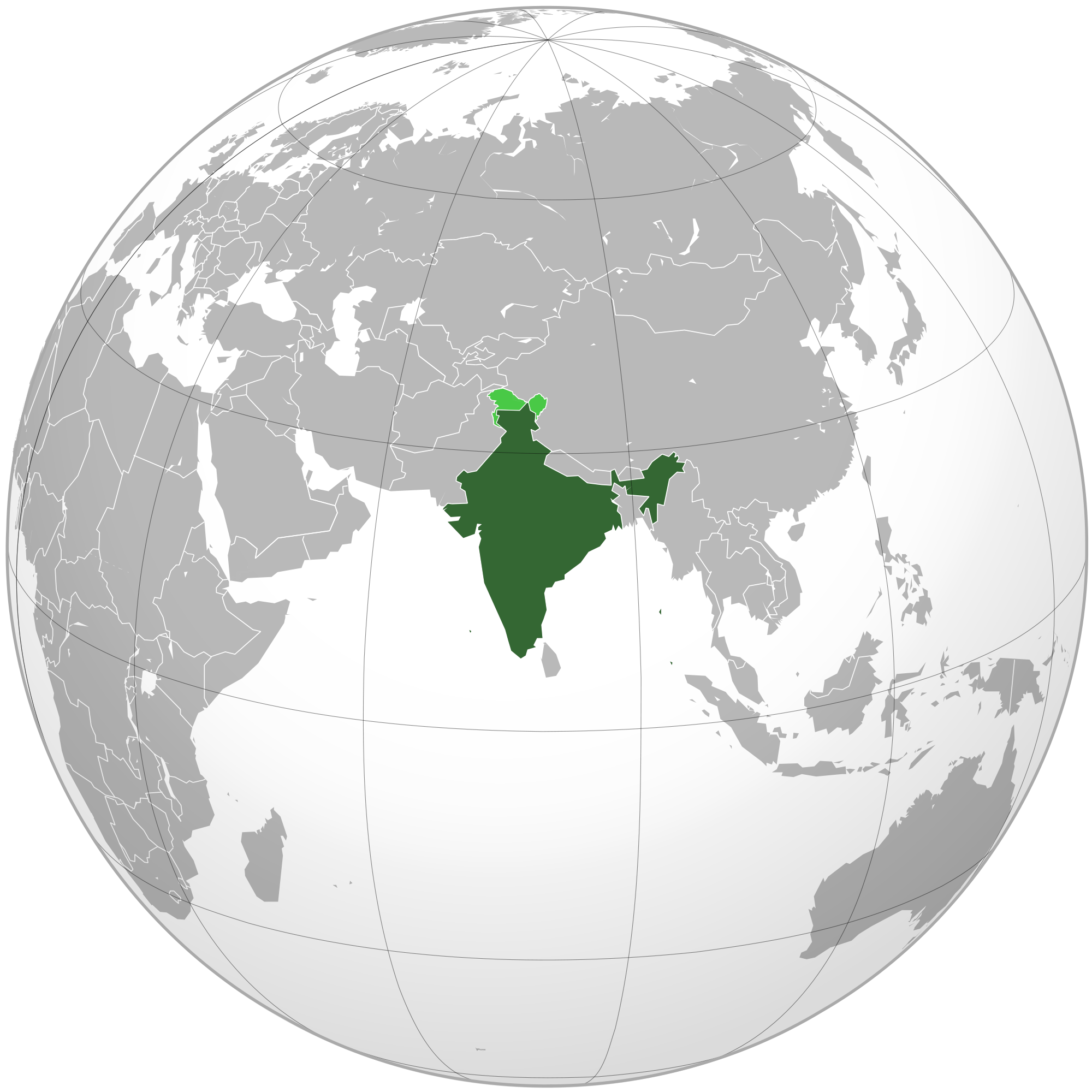 Location Of The India In The World Map