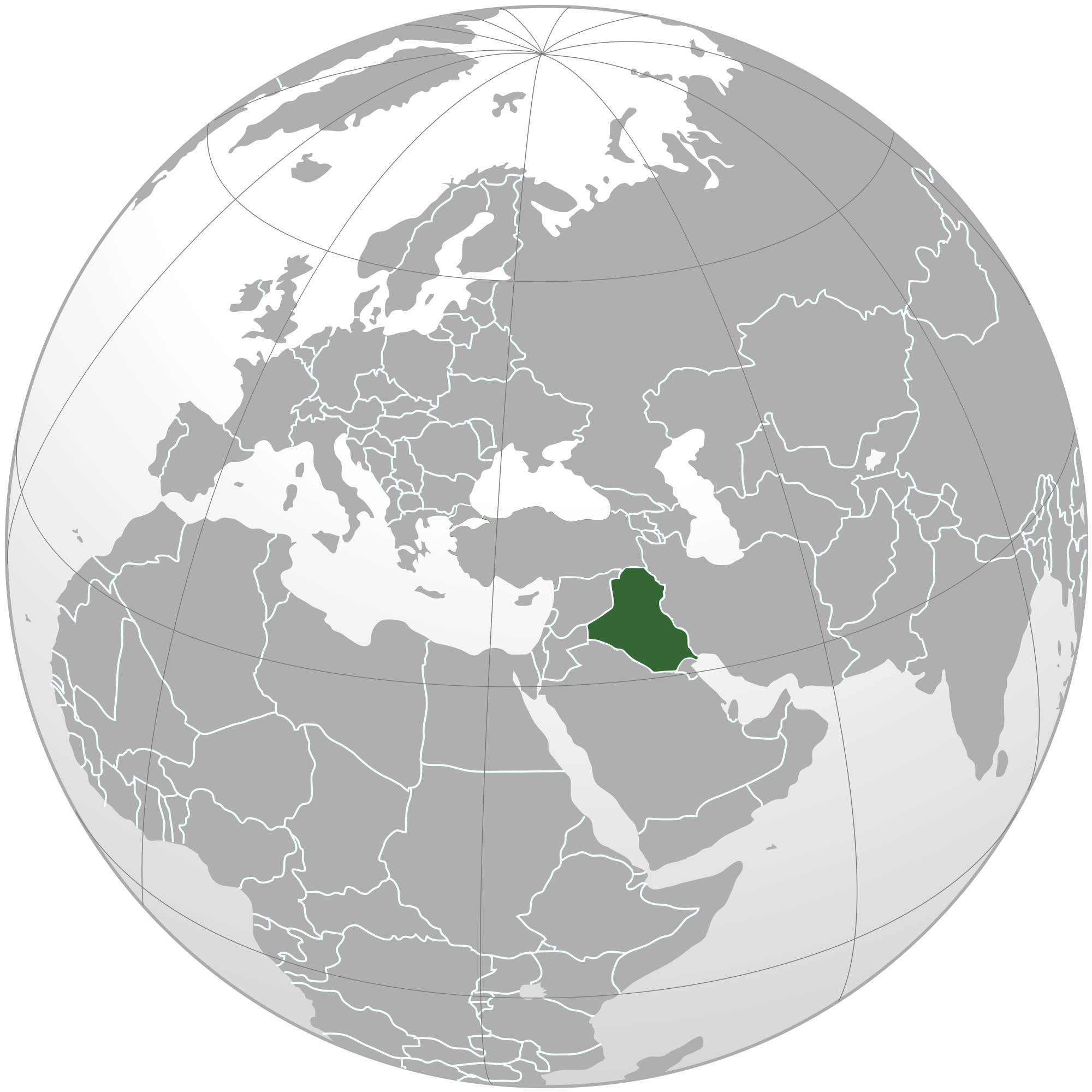 Location of the Iraq in the World Map