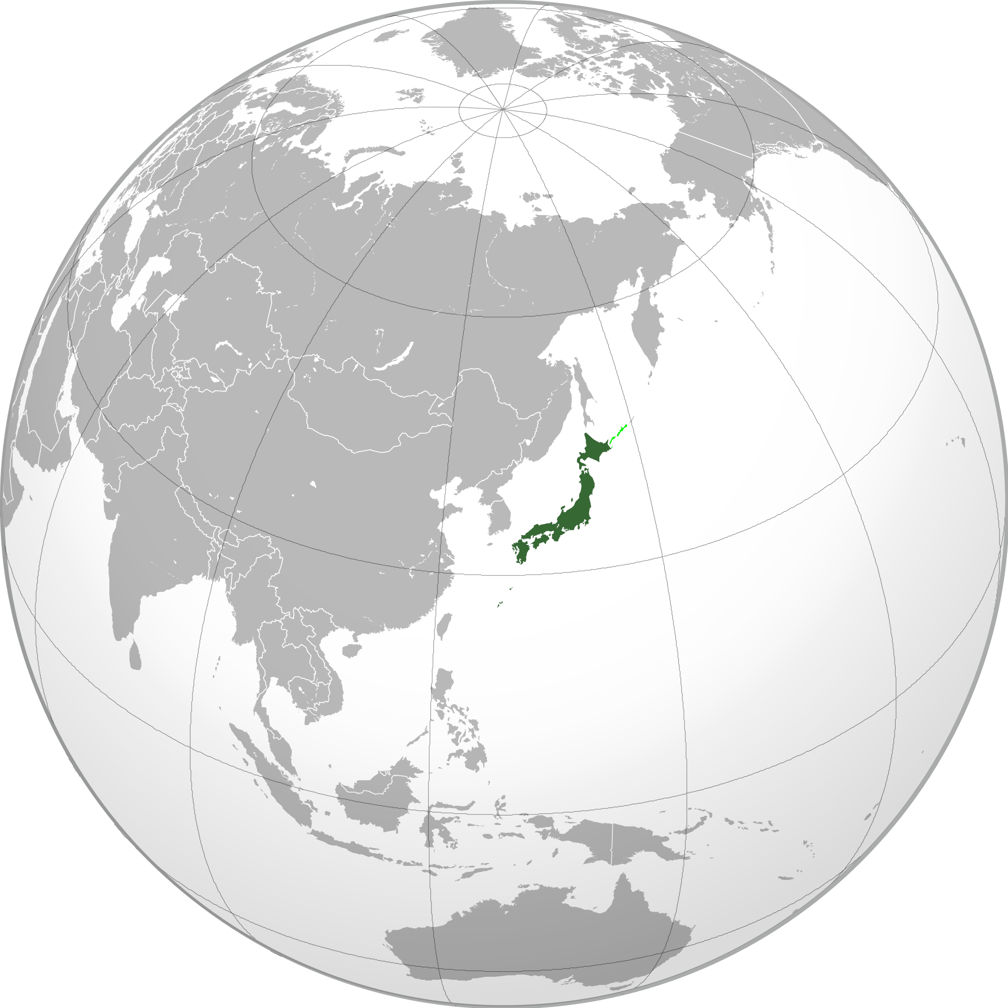 Location of the Japan in the World Map