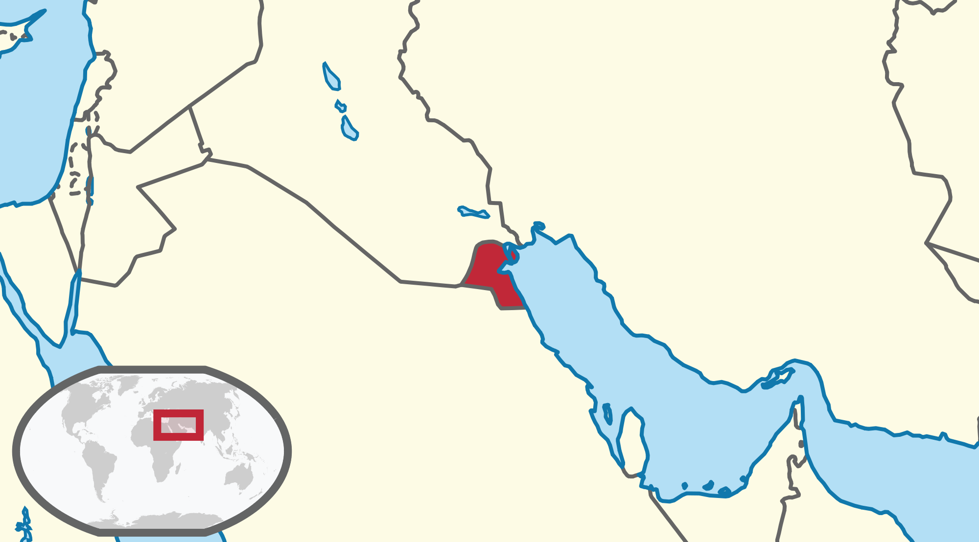 Location of the Kuwait in the World Map