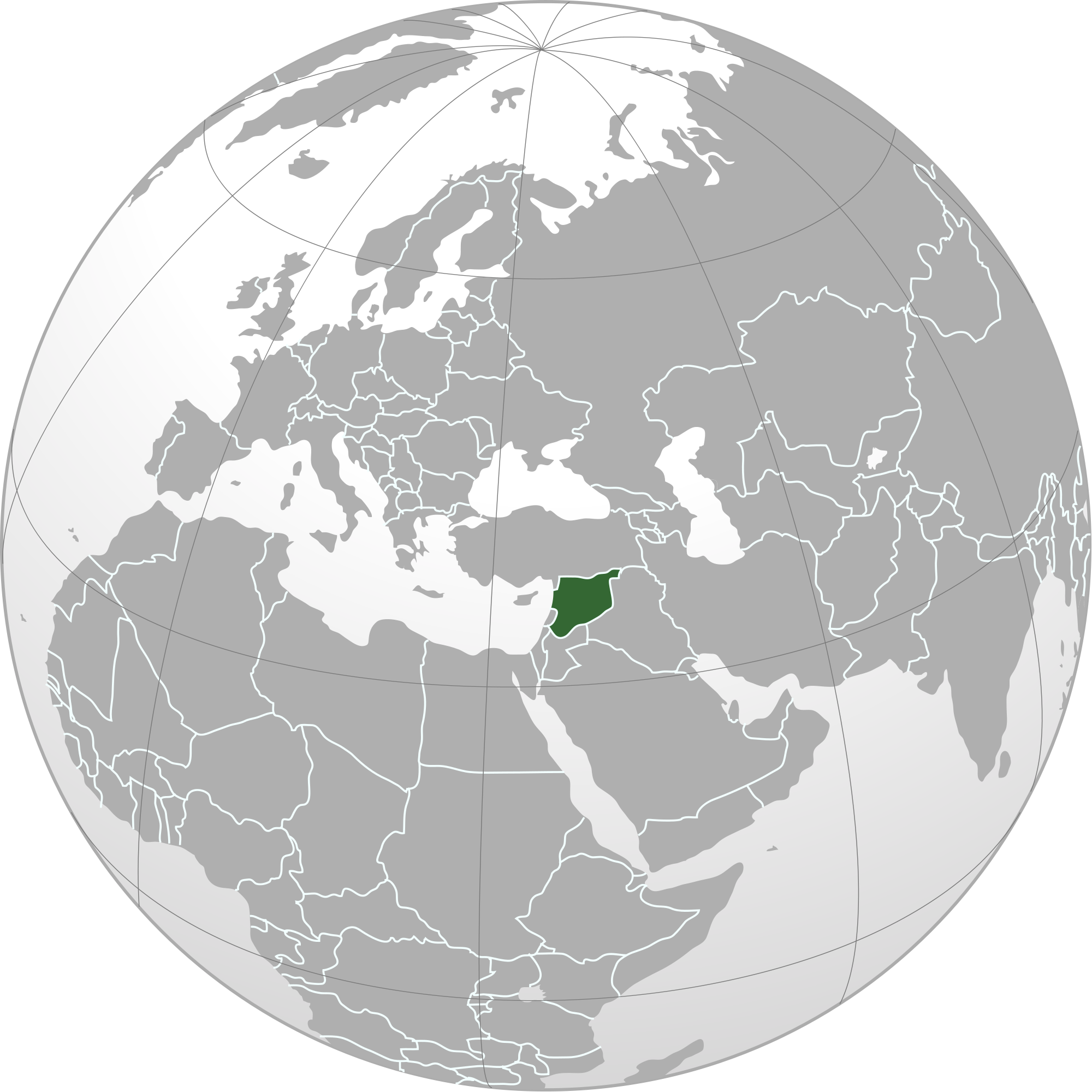 Location of the Syria in the World Map