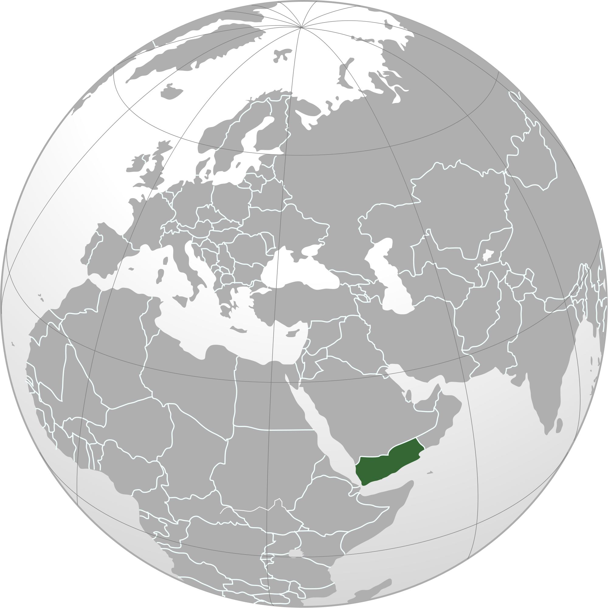Location of the Yemen in the World Map