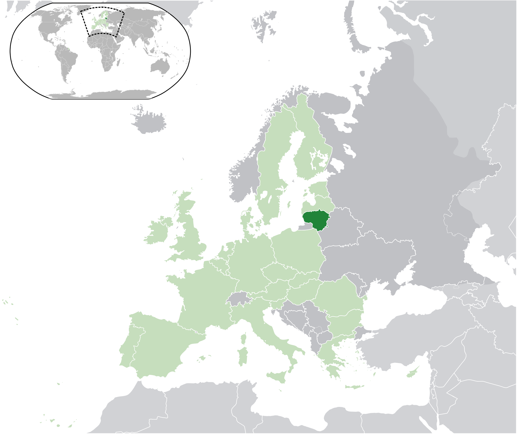 Image of: Location Of The Lithuania In The World Map