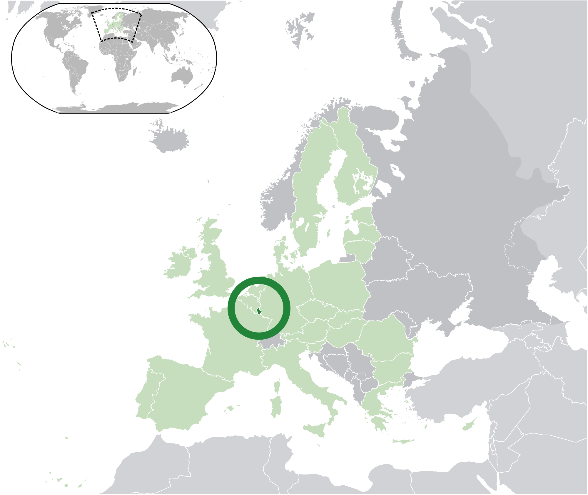 Location of the Luxembourg in the World Map