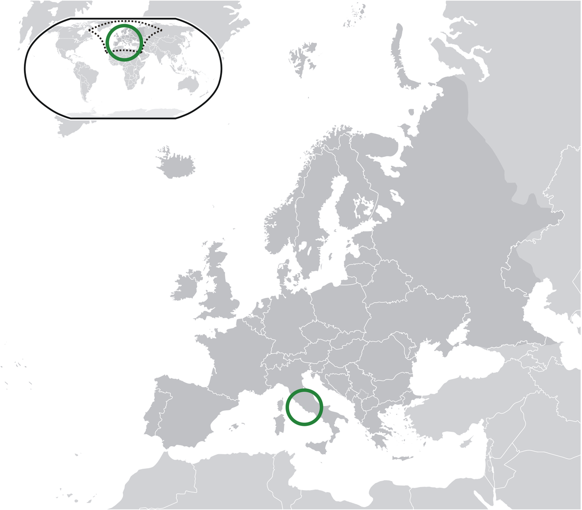 Location of the Vatican City in the World Map
